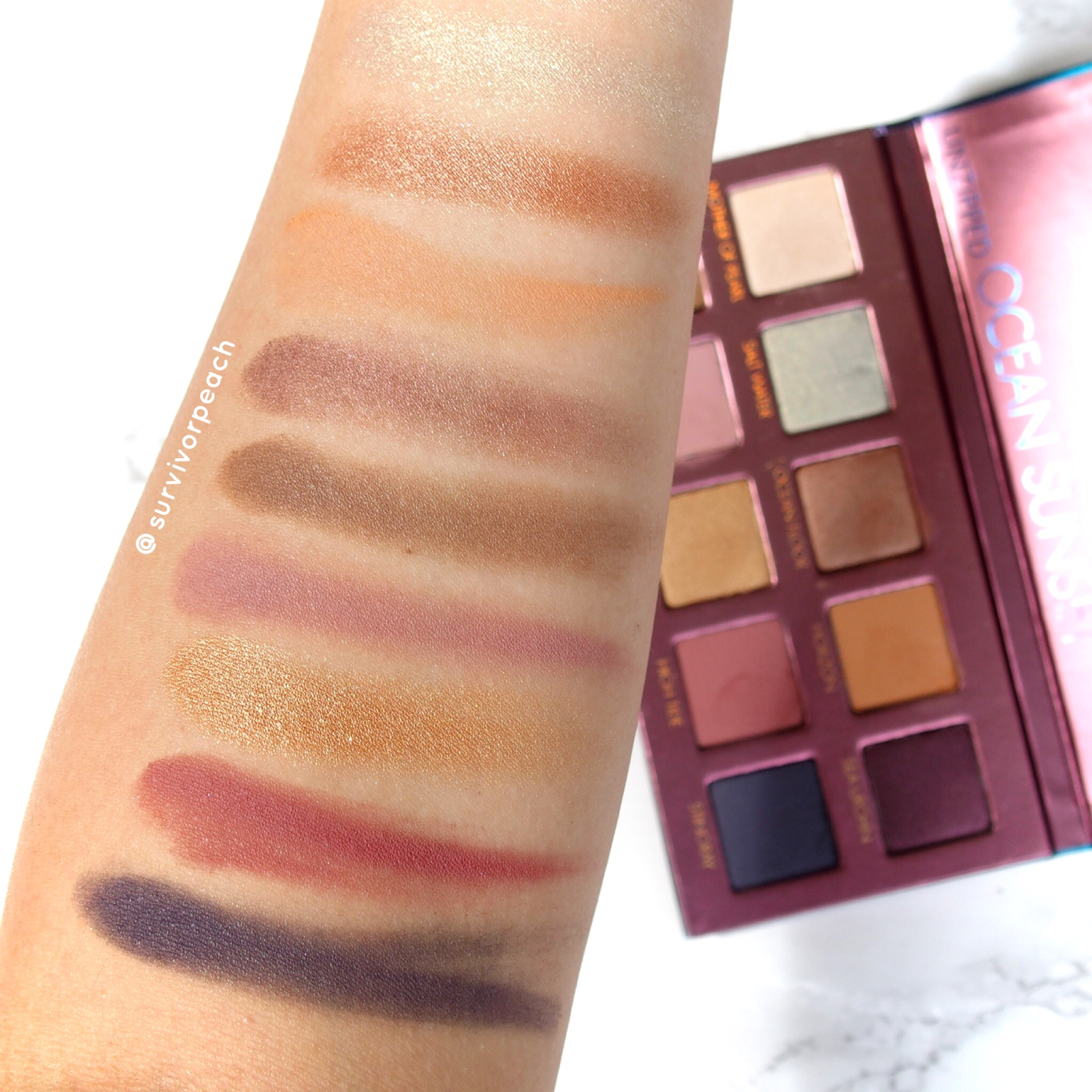 Swatches of the Left side of the Lorac Sunset Upzipped Palette