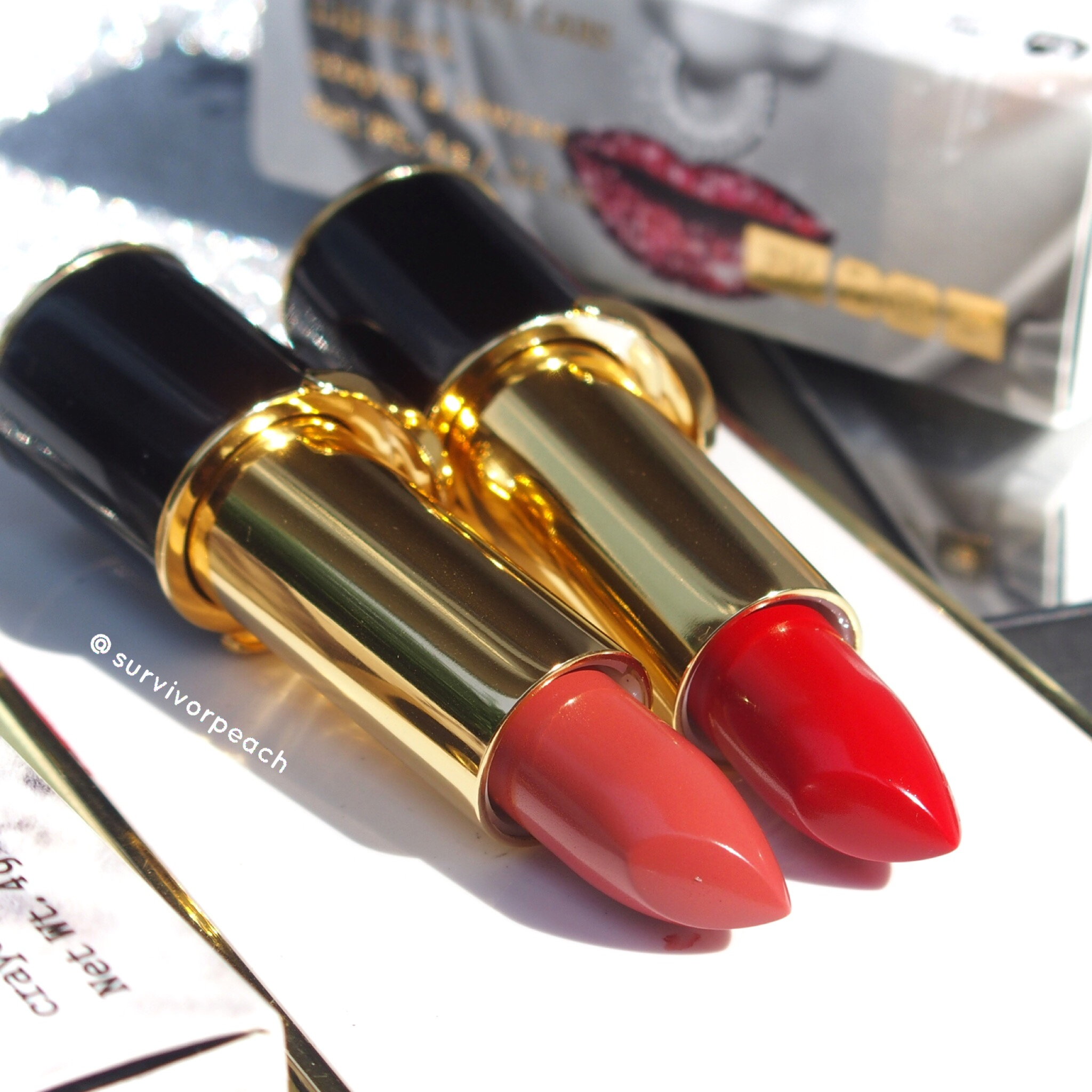 Pat McGrath Labs Luxe Trance Lipsticks in shades Tropicalia and Mcgrath Muse