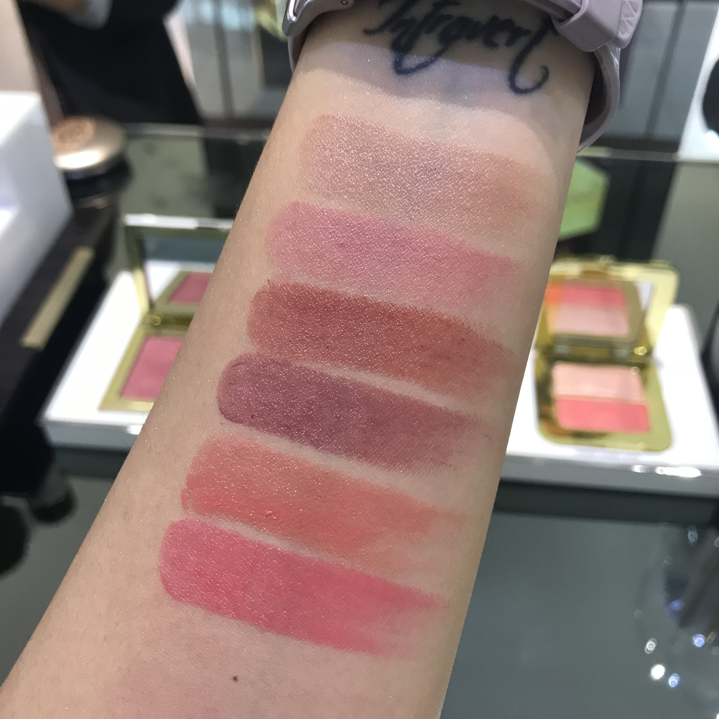 Tomford Ultra Shine Lip color swatches  Bare  Delectable  Nubile  Luscious  Lavish  Exuberant