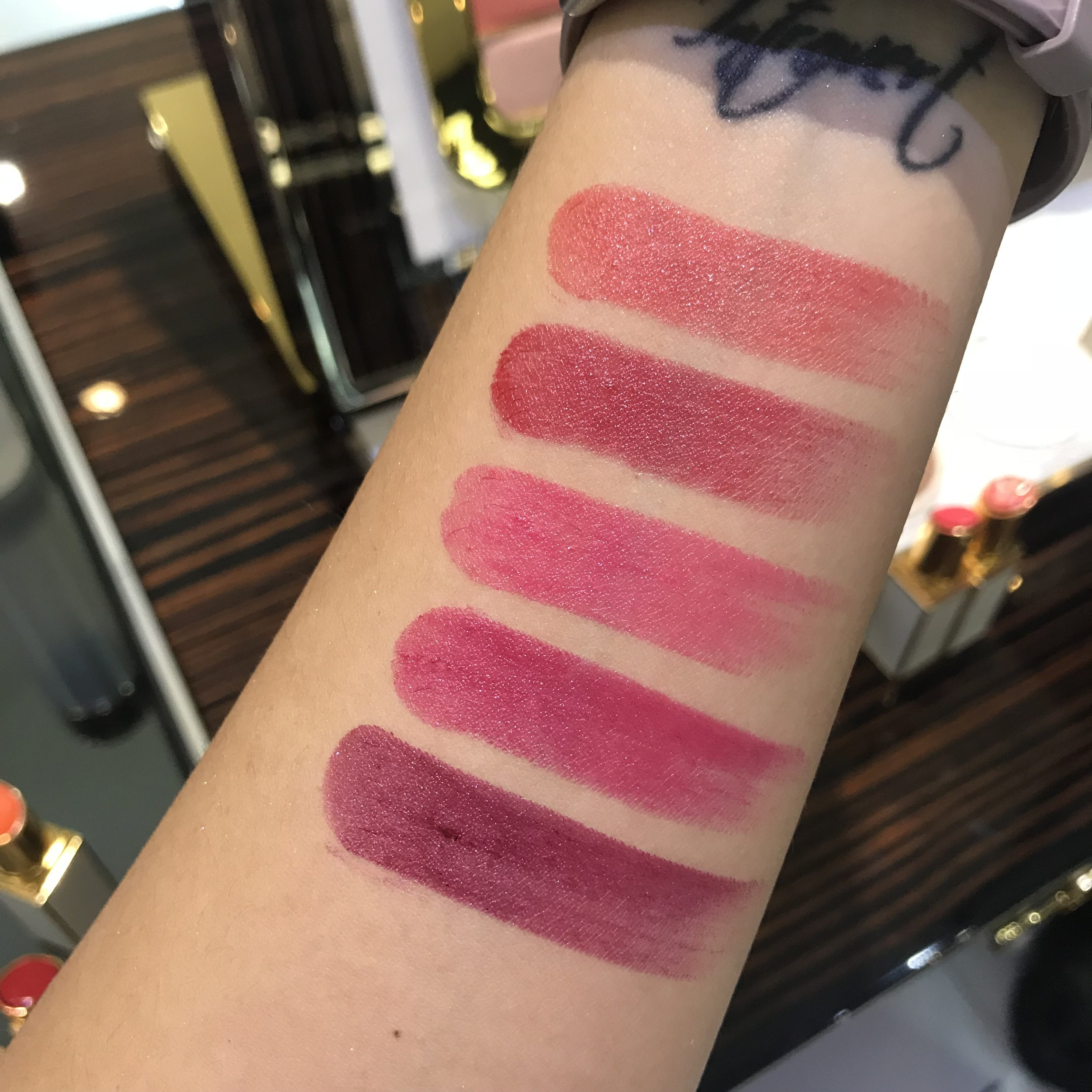 Tomford Ultra Shine Lip color swatches  Willful  Indulgent  Ravenous  Raptotous  Decadent