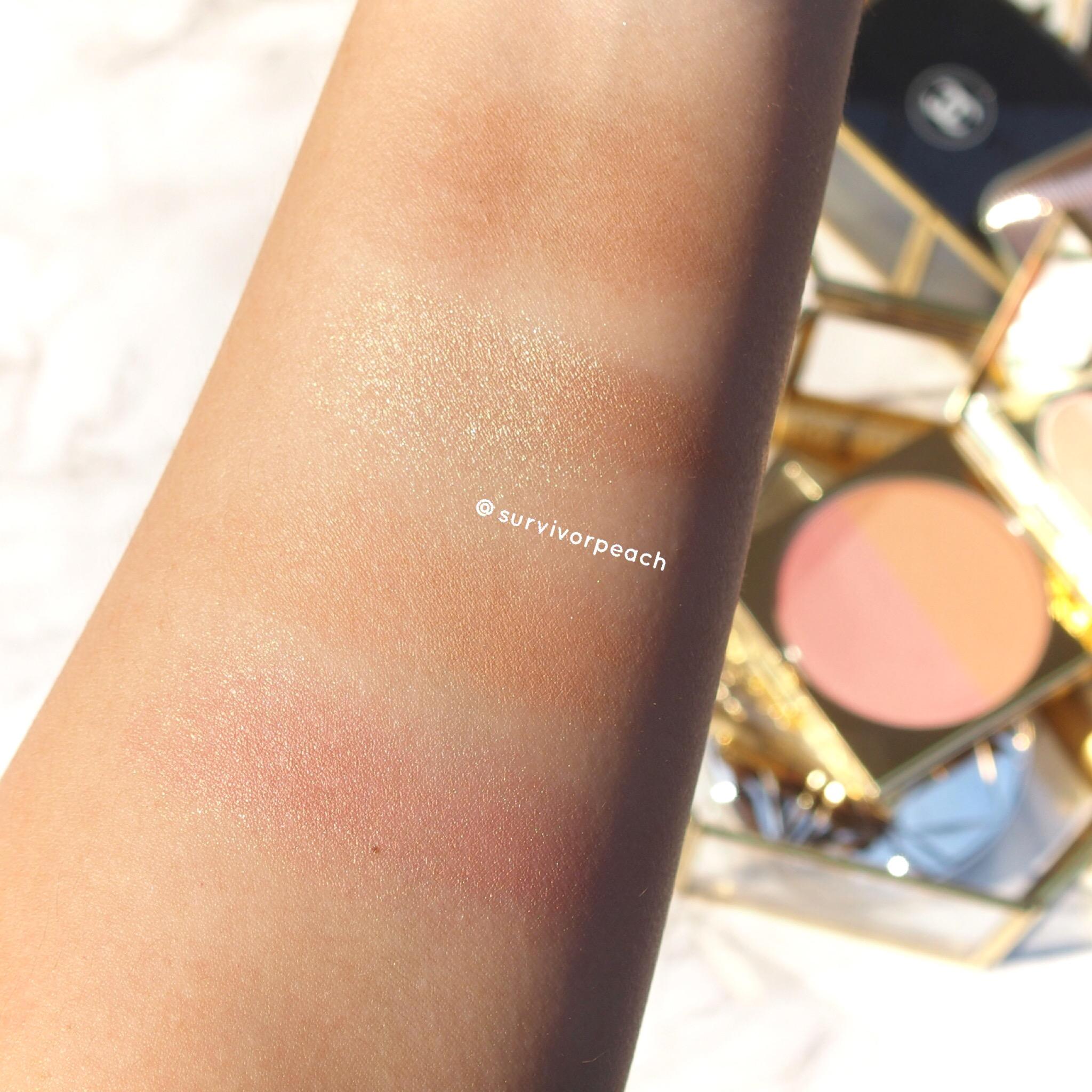 MACxPadma collection powder blush duo Melon Pink swatch (bottom)