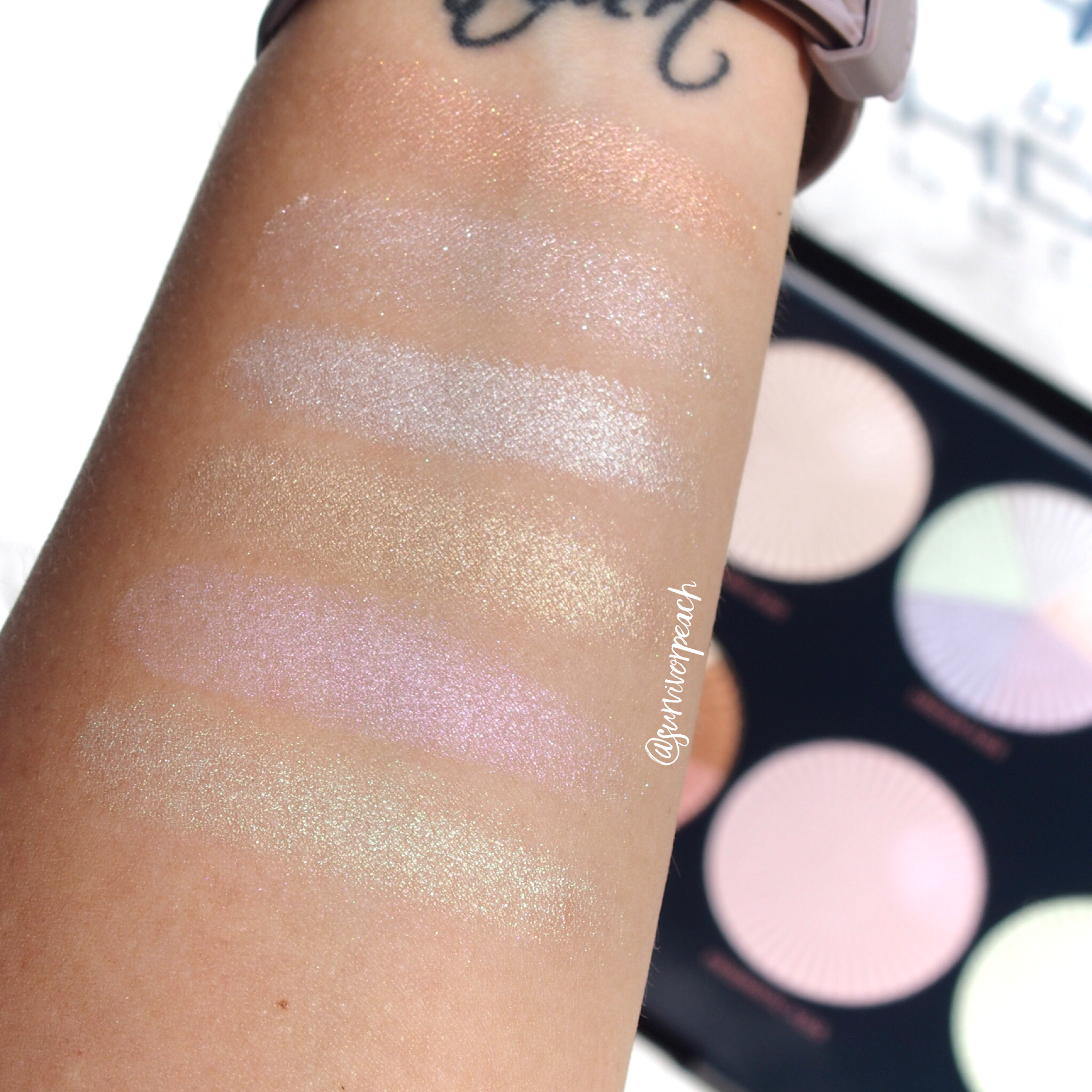 Makeup Revolution Pro HD Glow Getter palette swatches in shade 1. Rose Gold Kiss 2. Champagne Kiss 3. Glow Kiss 4.Golden Kiss 5.Prismatic Kiss 6. Mint kiss