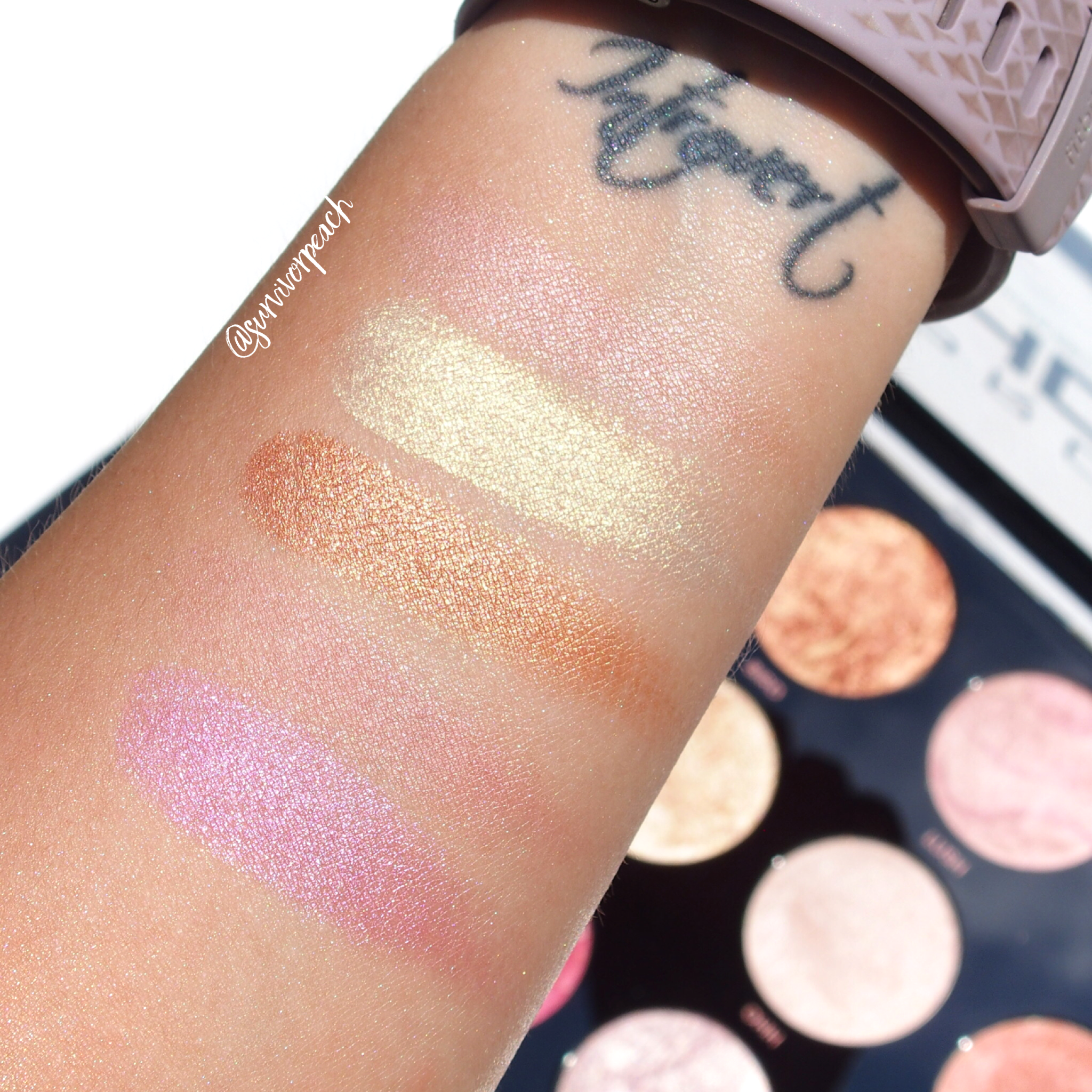 Makeup Revolution Pro HD Amplified Get Baked Palette swatches - Row 1