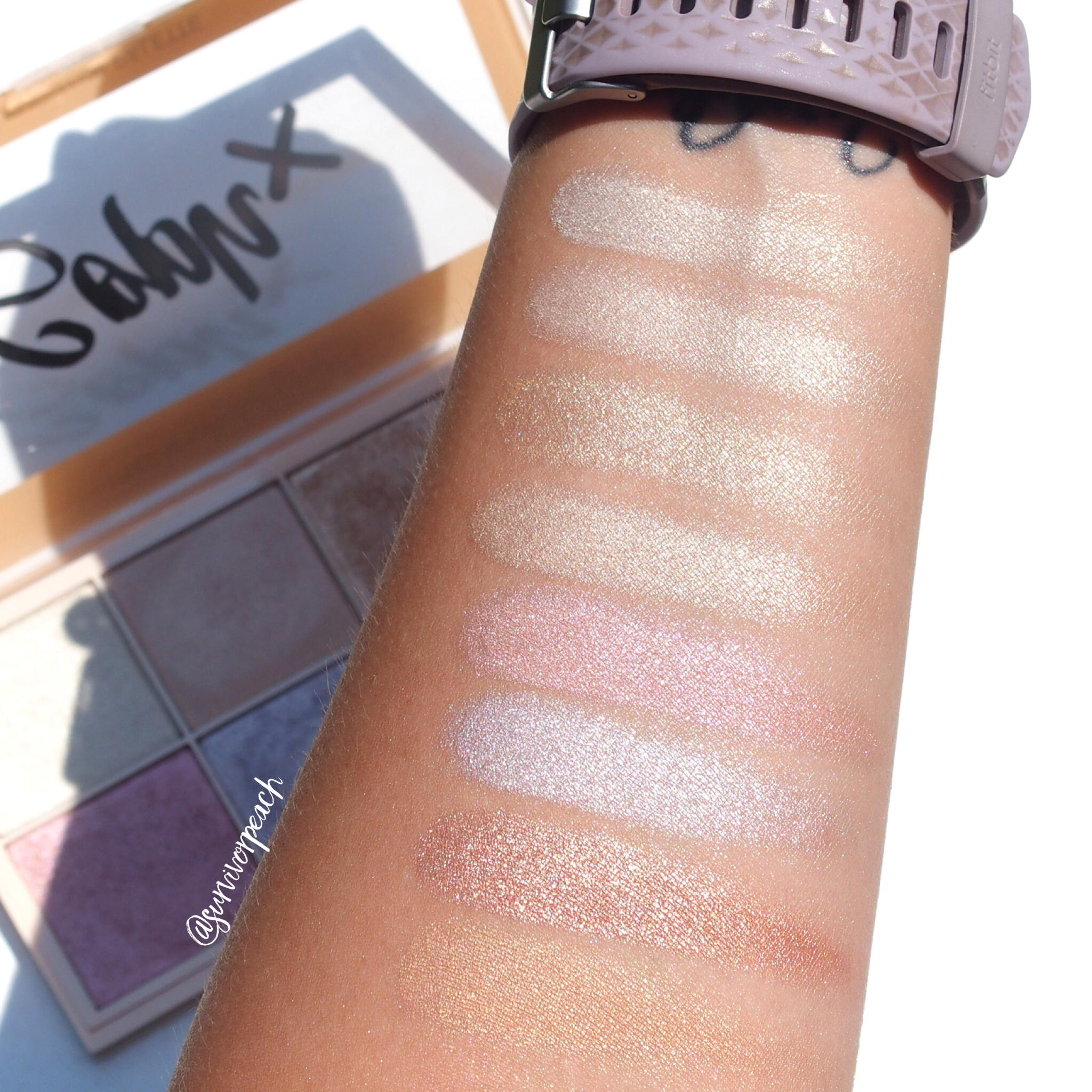 Makeup revolution Soph X Highlighter palette swatches