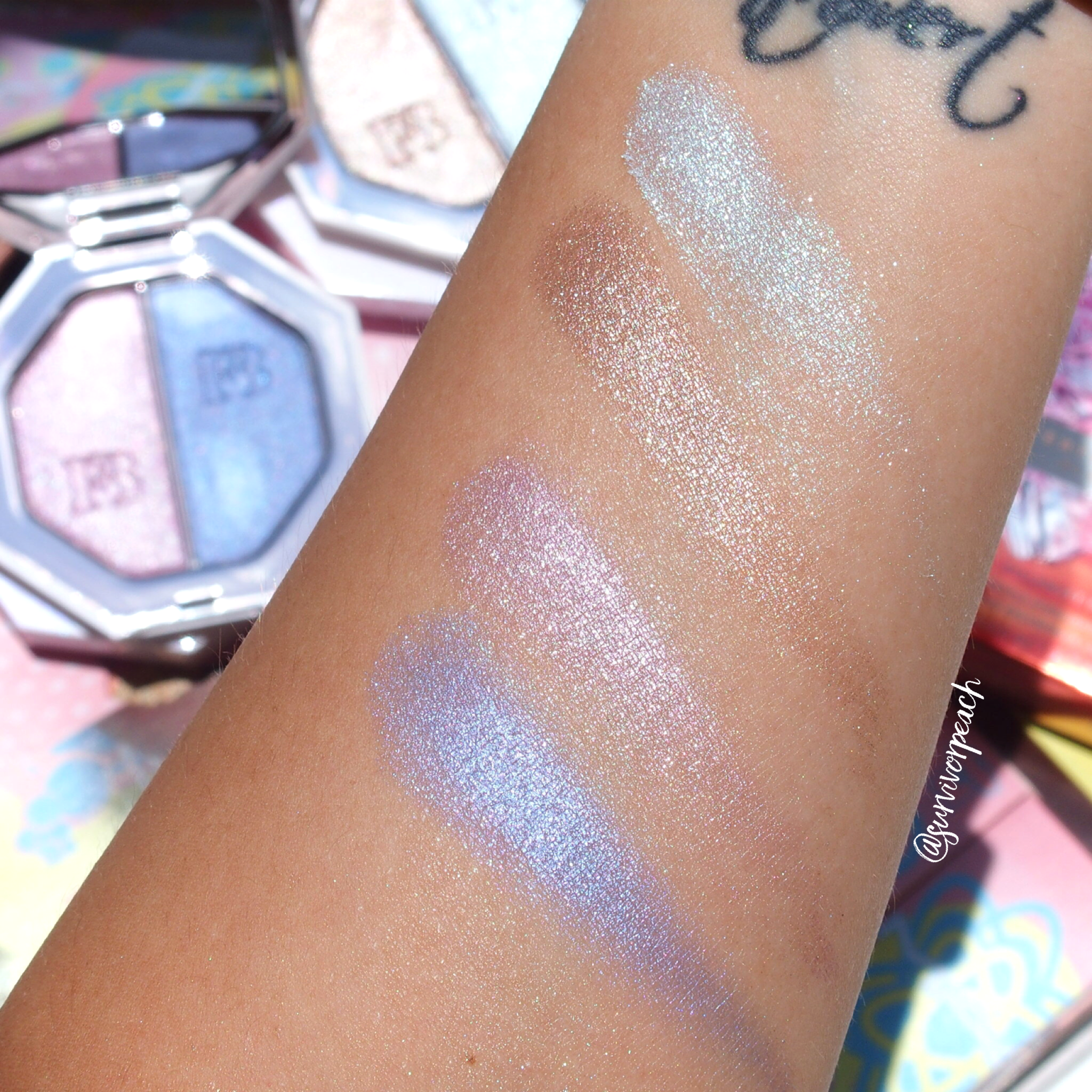 Swatches of Fenty Beauty Killawatt Foil HIghlighter Duo Sand Castle/Mint'd Mojito and 7Daywknd/Poolside