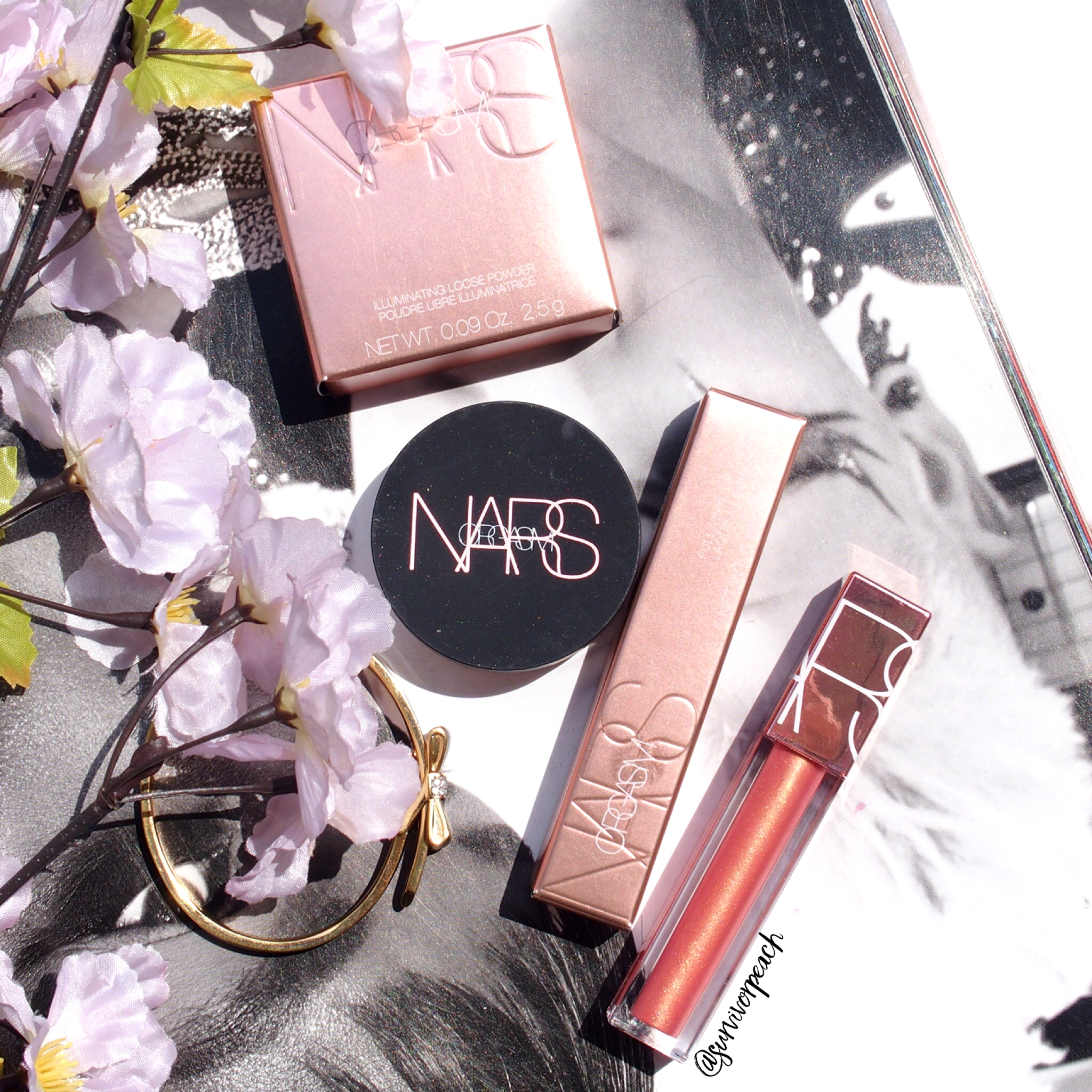 Nars Full Vinyl Lip lacquer , Illuminating Loose Powder