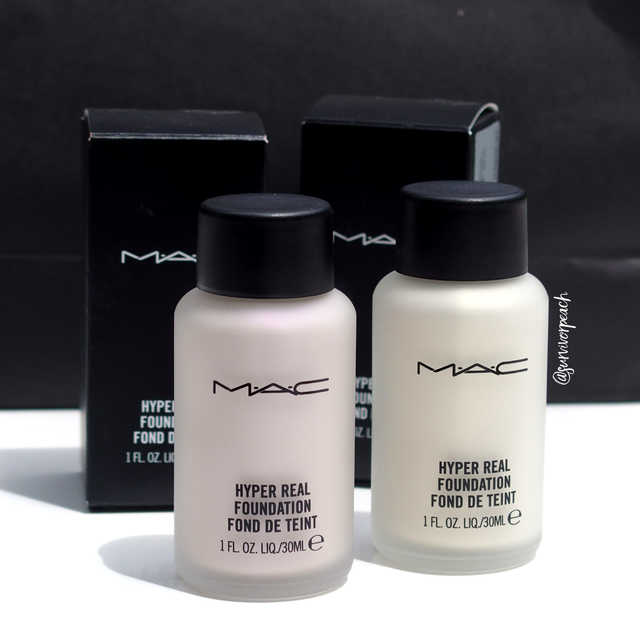 MAC Hyper Real foundations in shades Violet and Gold FX