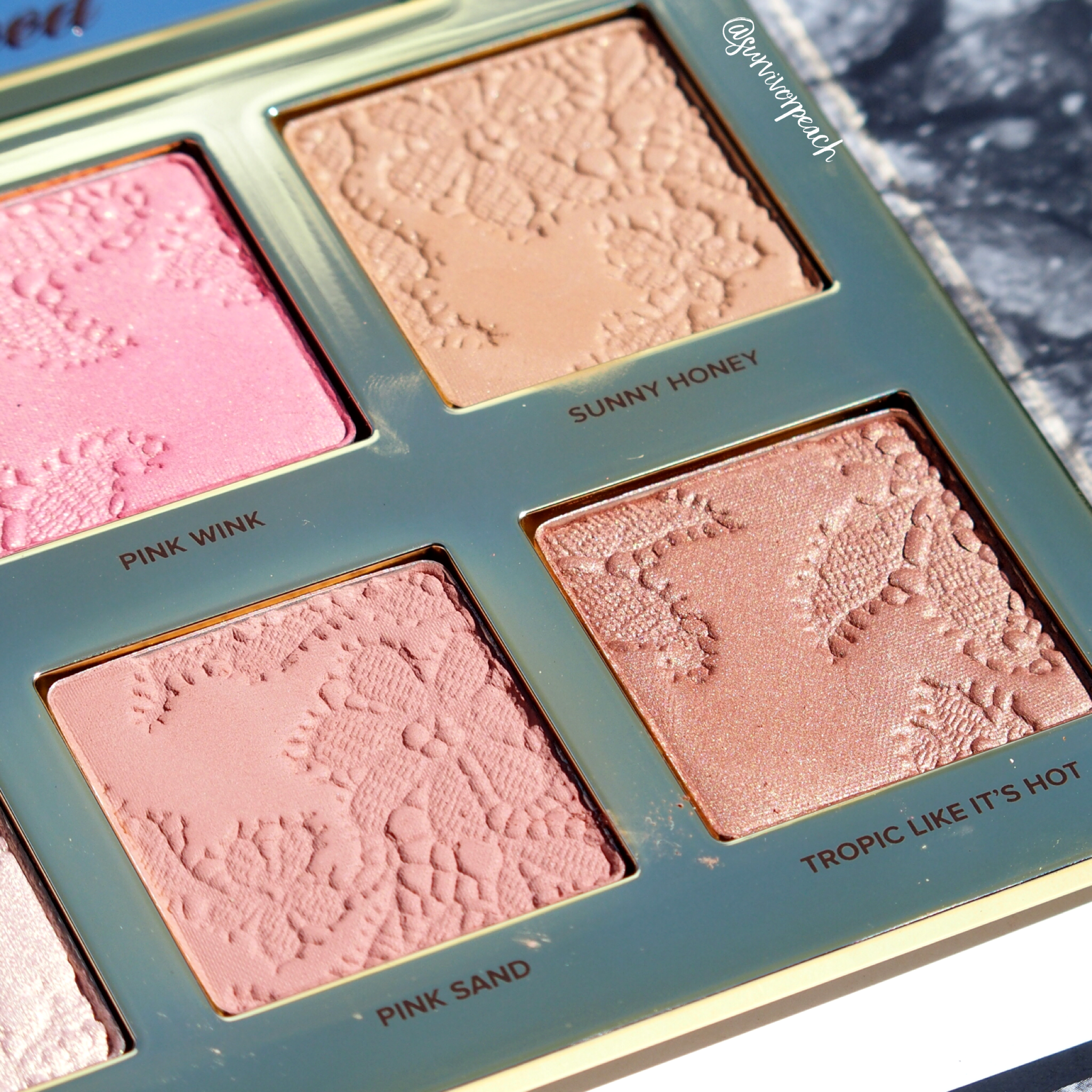 Toofaced Natural Face Highlight , Blush, and Bronzing Veil palette.