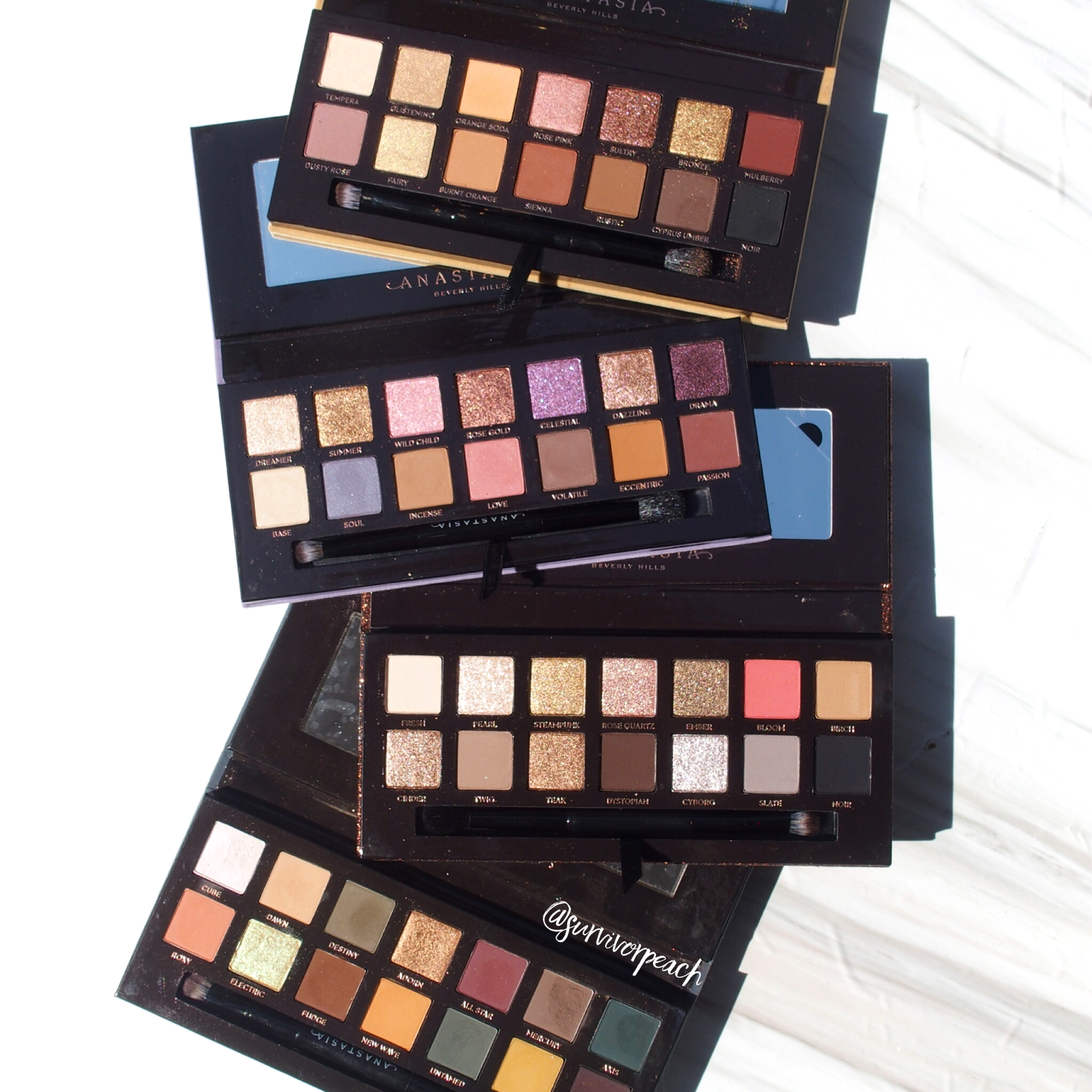Anastasia Beverly Hills eyeshadow palettes - Sultry, Norvina, Soft Glam, and Subculture.