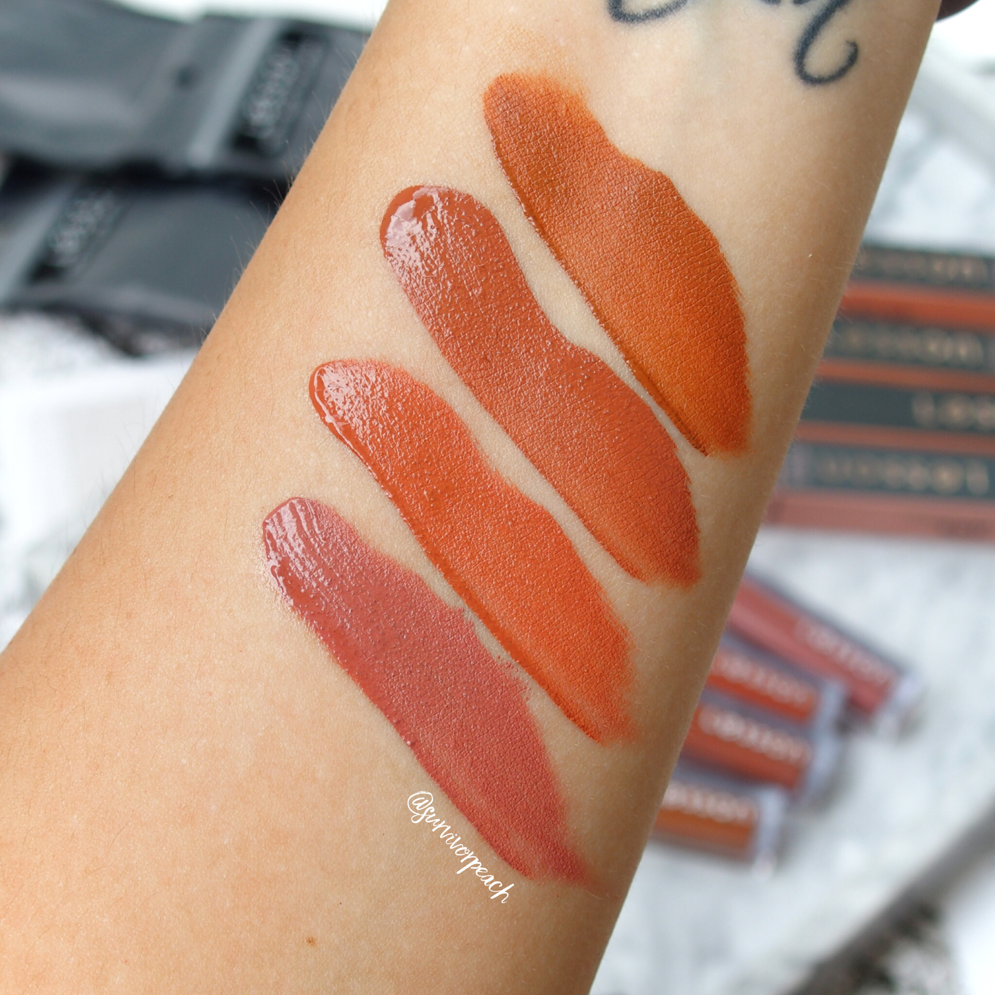 Swatches of the Lesson Thailand Healthy Lip Liquids in shade Be Him, Your Man, My Everyday, and 24/7.