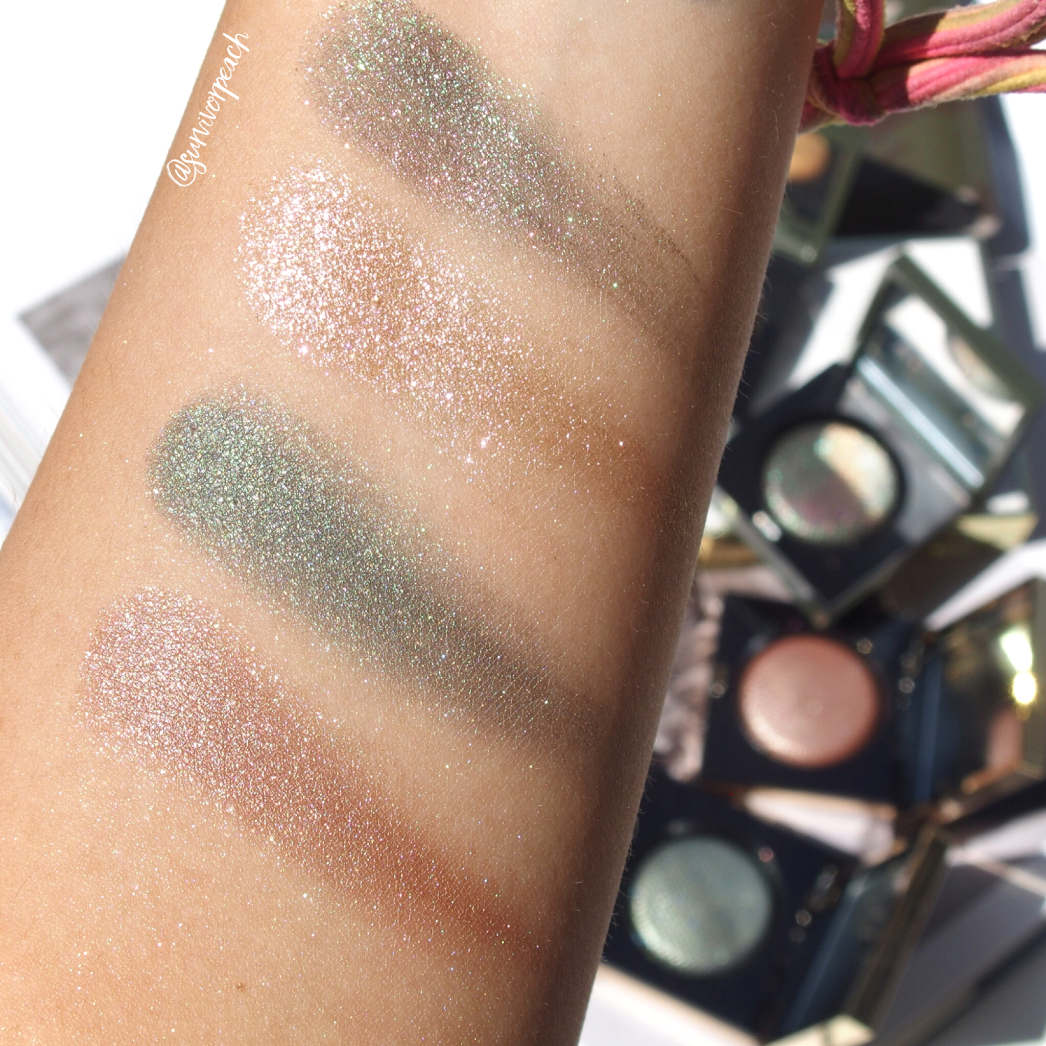 Swatches of the Bobbi Brown Luxe eyeshadows in Jungle, Incandescent, Poison Ivy, Melting Point.