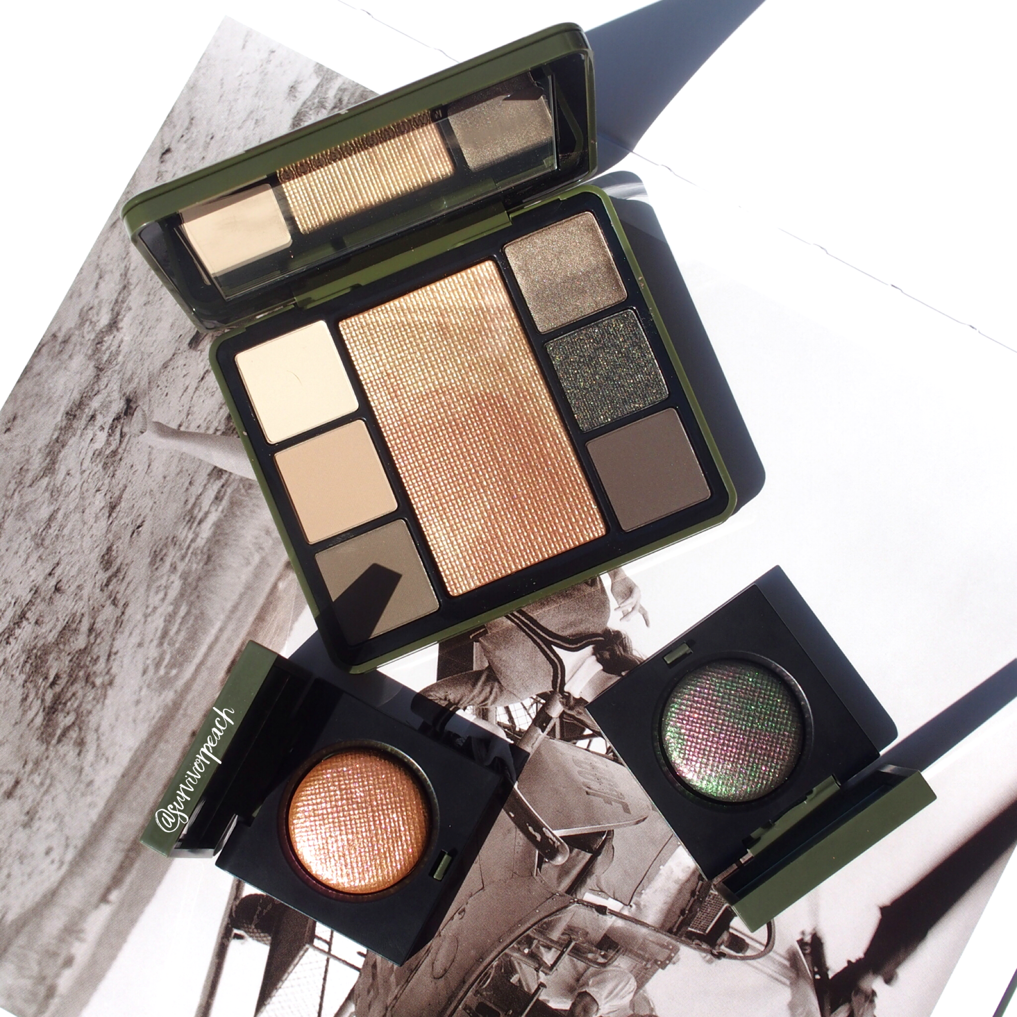 Bobbi Brown Camo Luxe Eye & Cheek palette and single shadows in Jungle and Incandescent