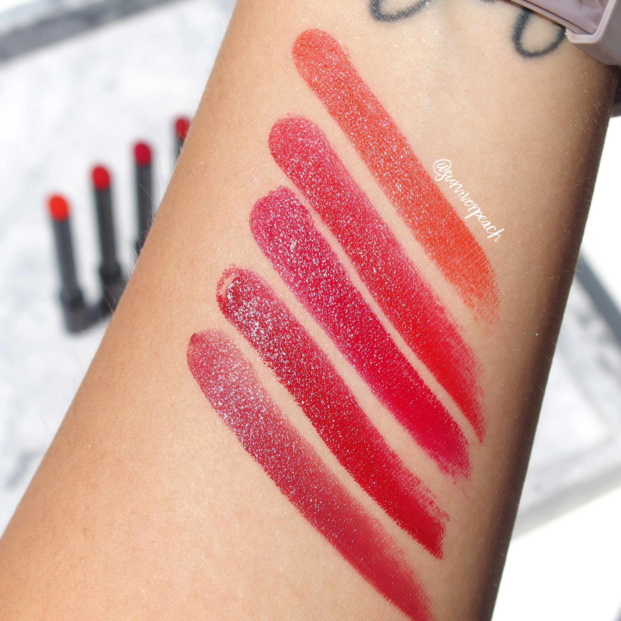 Swatches of the Hourglass Confession Lipsticks in shades I Desire, I Crave, My Icon Is, Secretly, I Can't Live Without