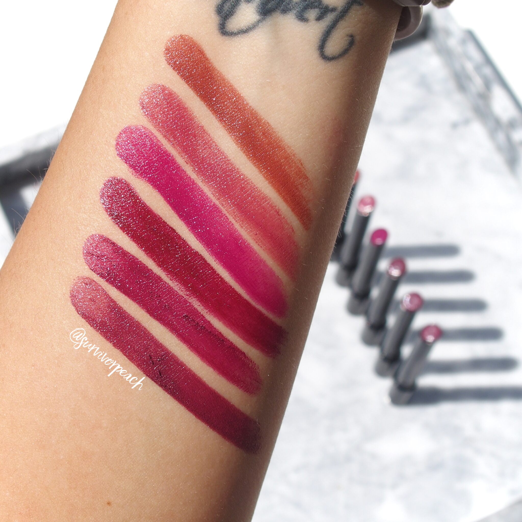 Swatches of the Hourglass Confession Lipsticks in shades I've Been, One Time, When I'm With You, When I'm Alone, If I Could, I Hide My