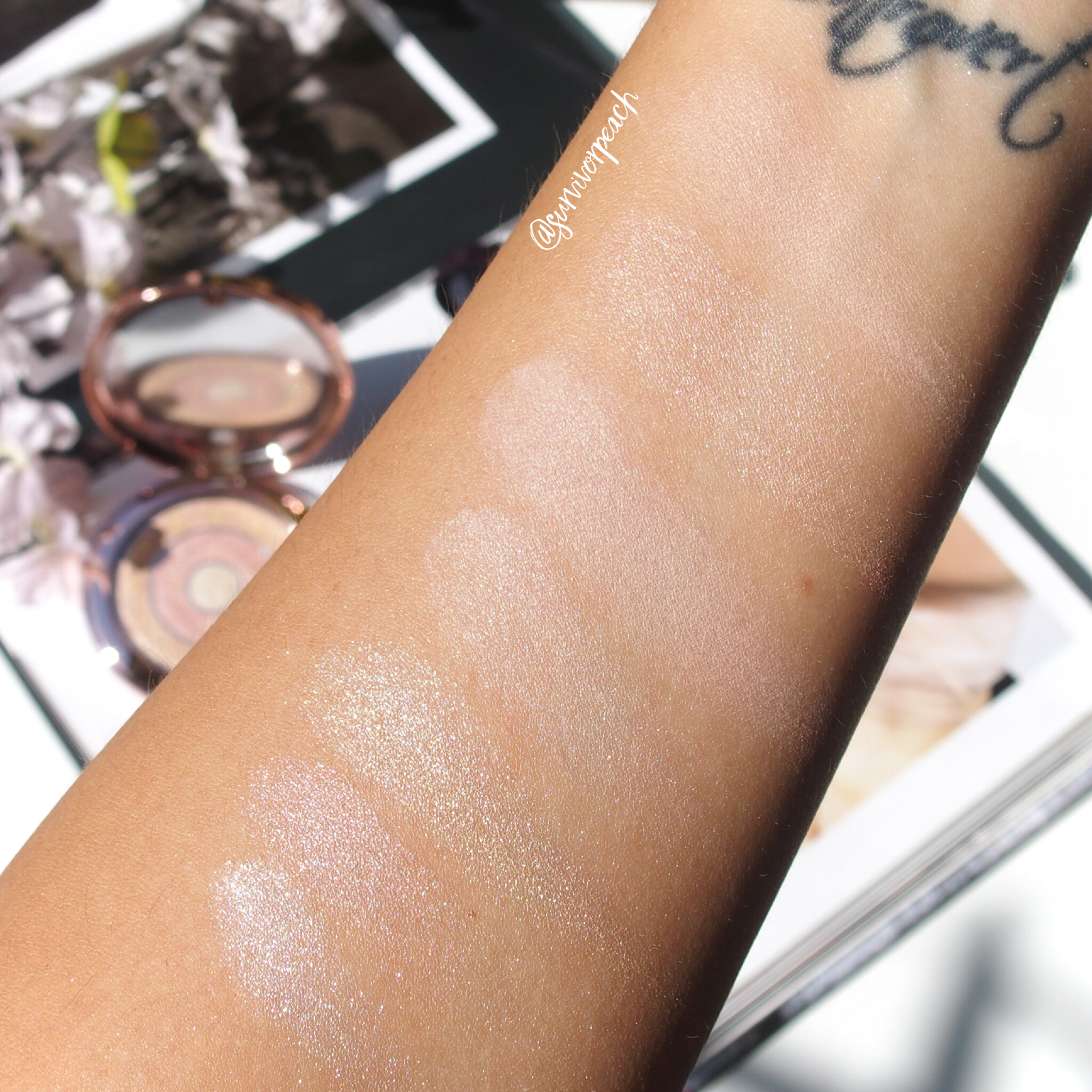 Swatches if the Compact-Expert Dual Powder in Apricot Glow, Rosy Flush, and the ByTerry Preciosity Flash Light Dual Compact.