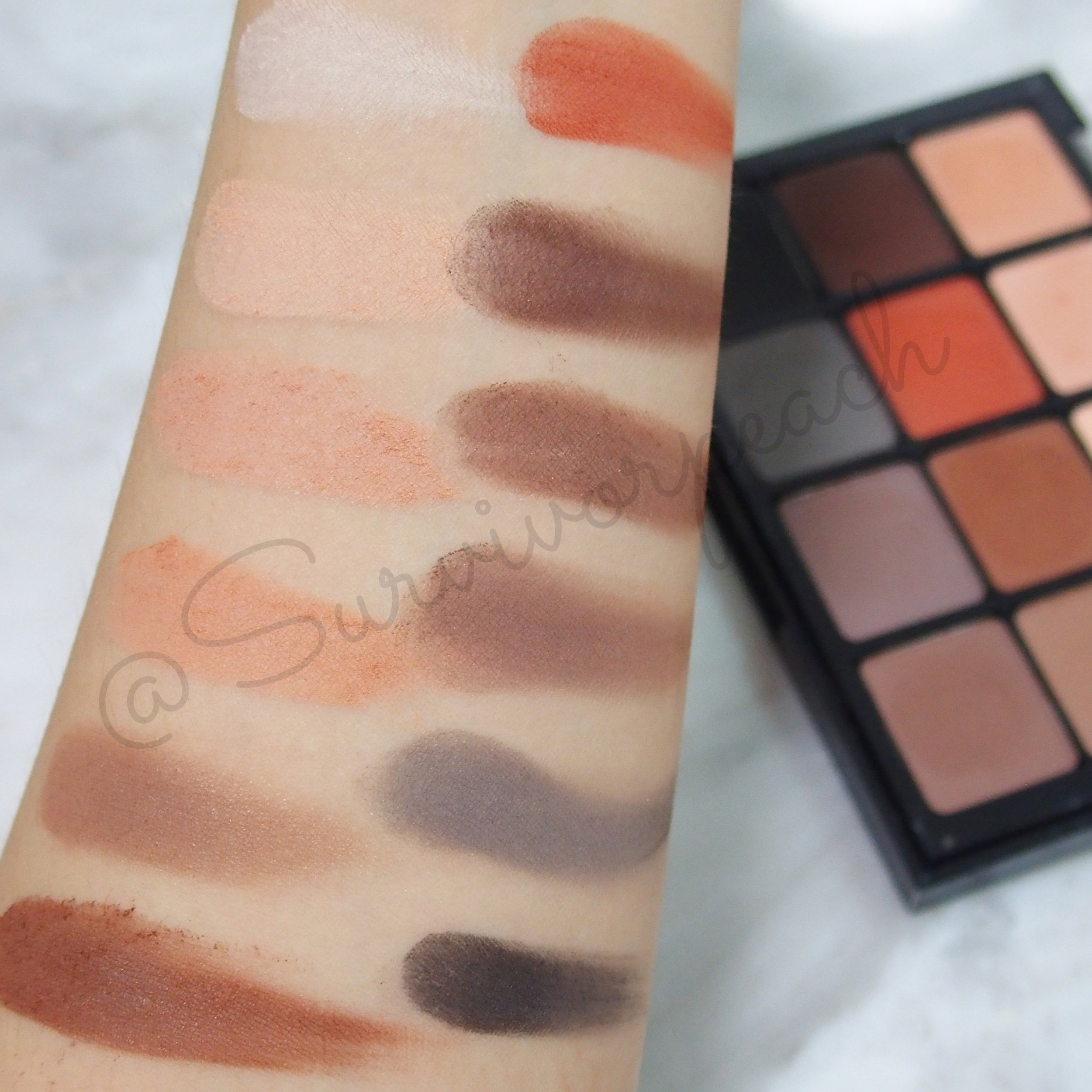 Swatches of the Viseart Natural Matte Palette - indoors