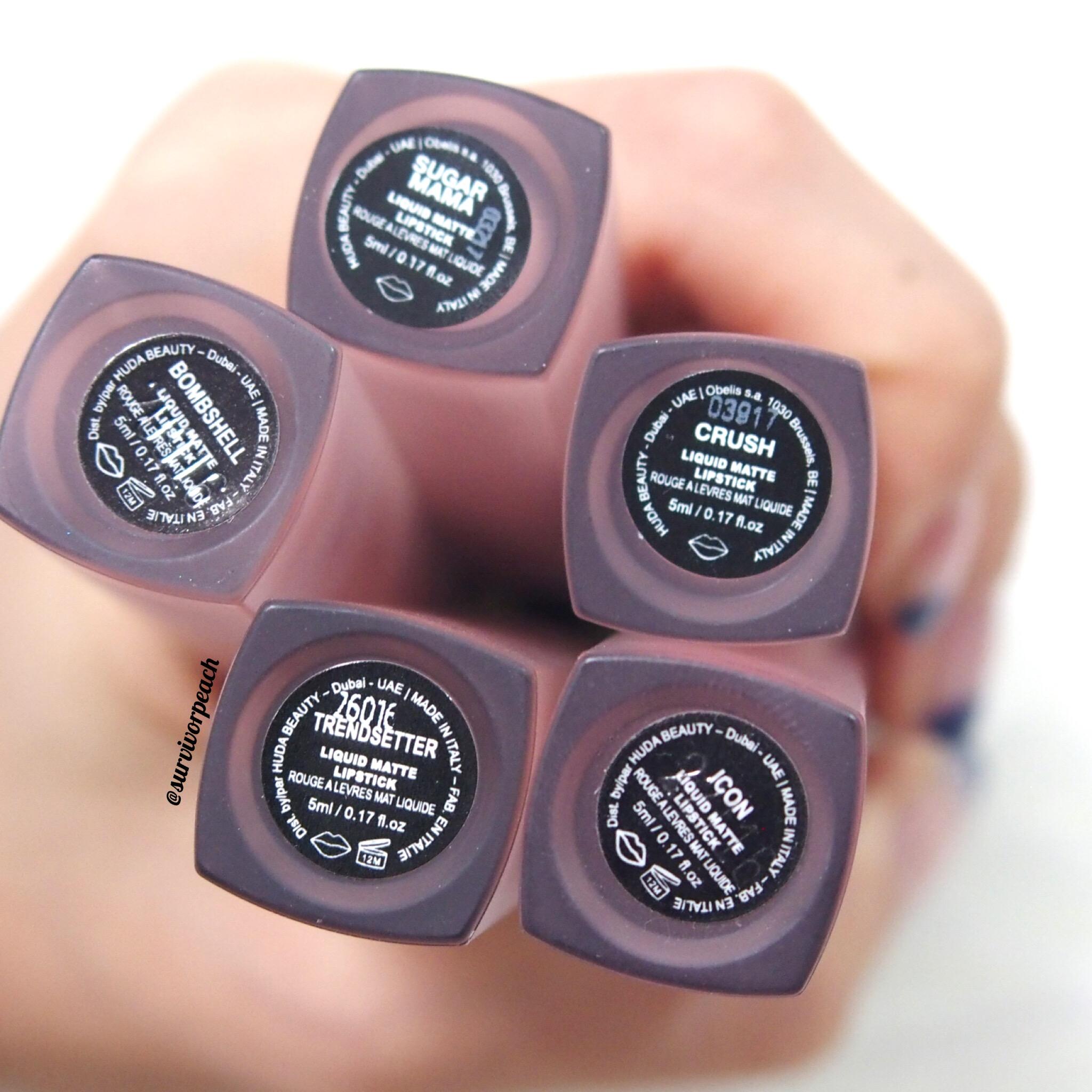 Huda Beauty Liquid Lipsticks in Crush, Sugar Mama, Bombshell, Trendsetter, and Icon.