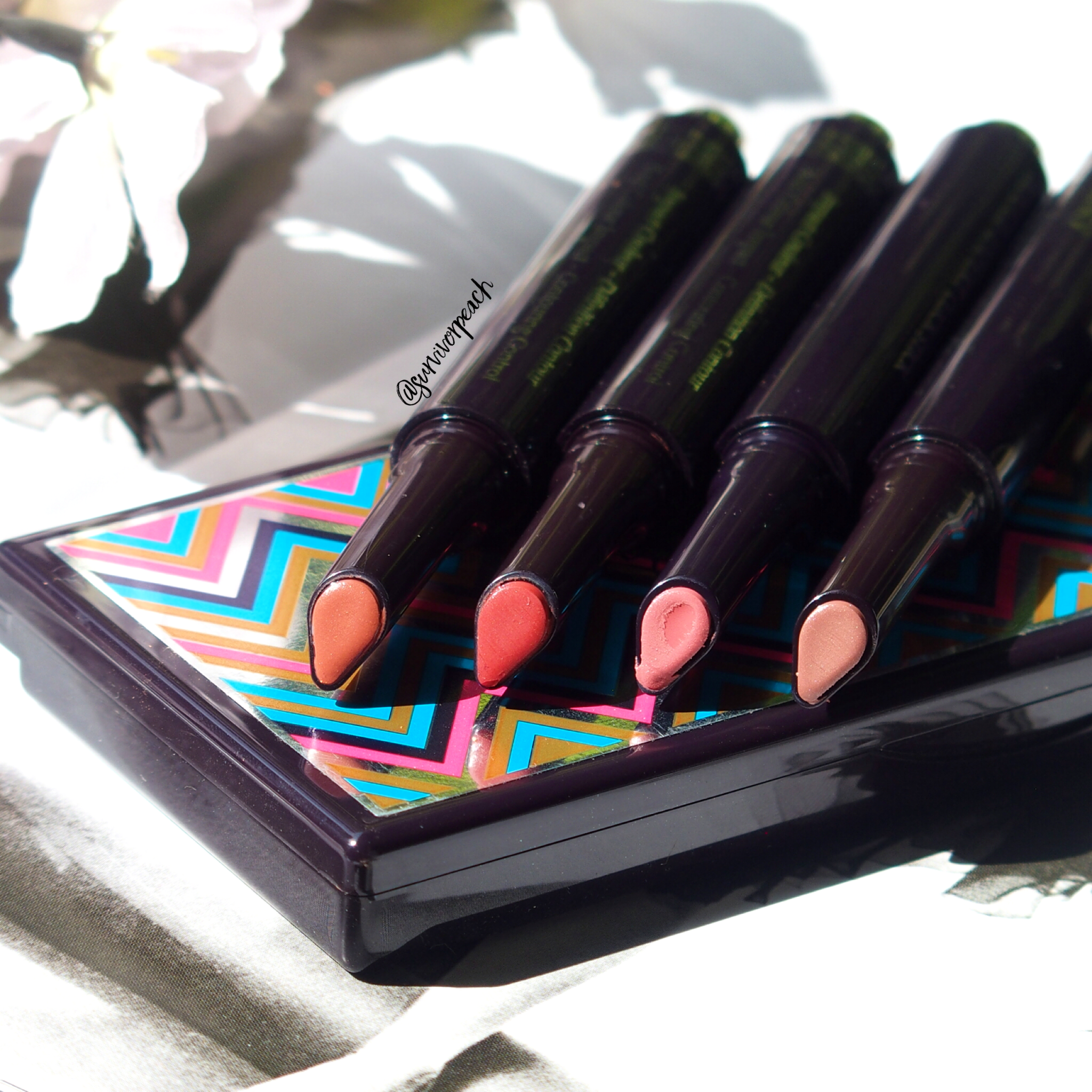Rouge Expert Click sticks in #3 Bare Me #6 Rosy Flush, #11 Baby Brick, and #12 Naked Nectar.