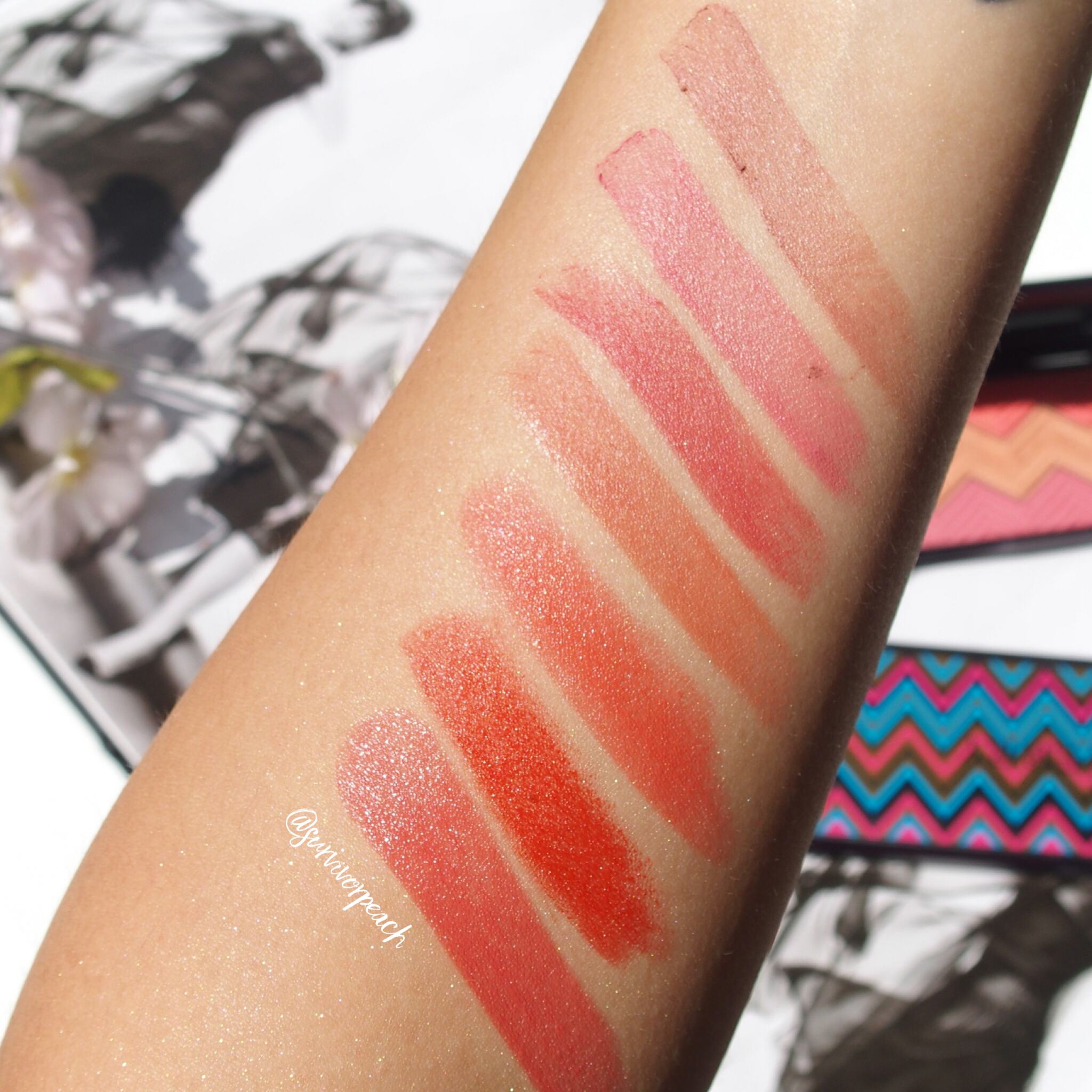 By Terry lipstick swatches:  Rouge Expert Click sticks in #3 Bare Me #6 Rosy Flush, #11 Baby Brick, and #12 Naked Nectar.  Rouge Terribly in shades 200 Frenetic Vermillion and 400 21 Vero-Dodat.  Rouge Hyaluronic Sheer Rouge lipstick in shade Baby Bloom.