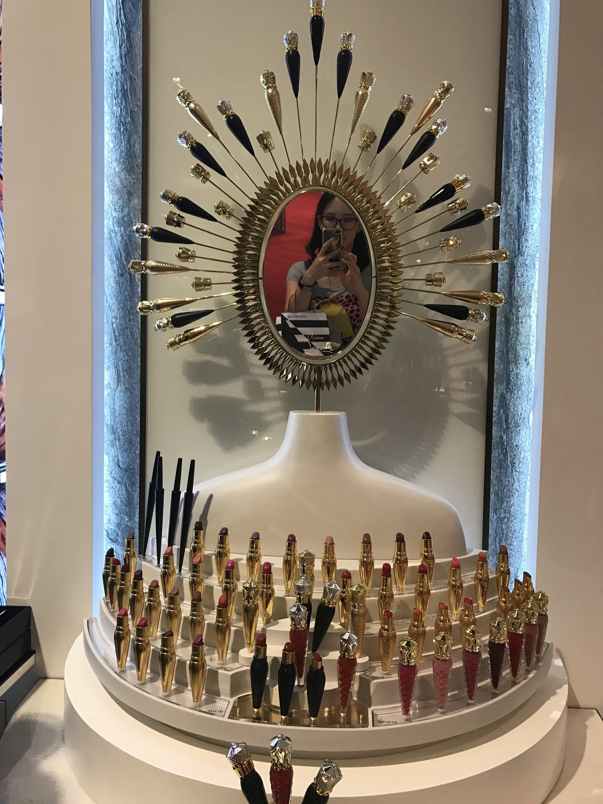 Louboutin Beauty stand at Dubai Mall
