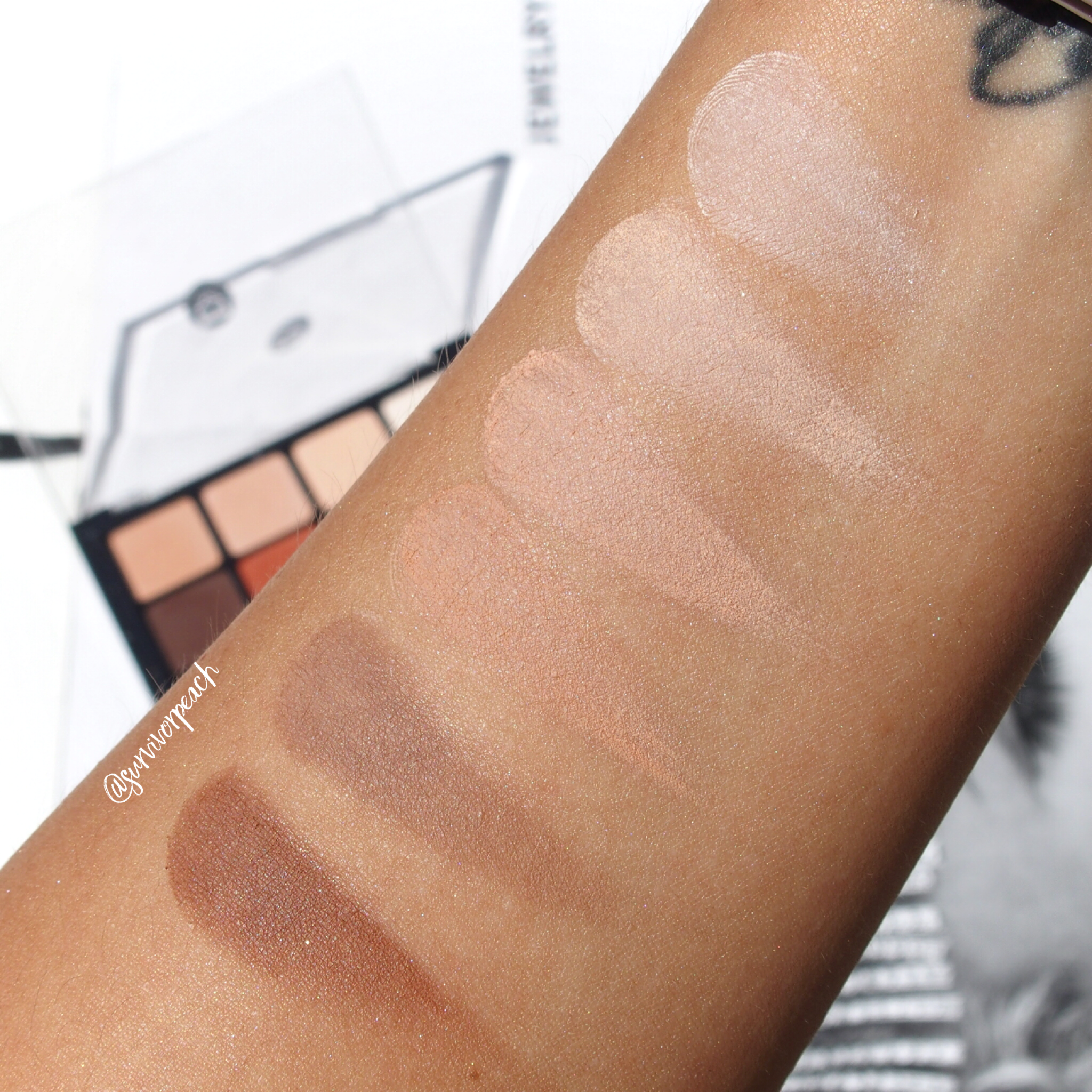 Swatches of the Viseart Natural Matte Palette