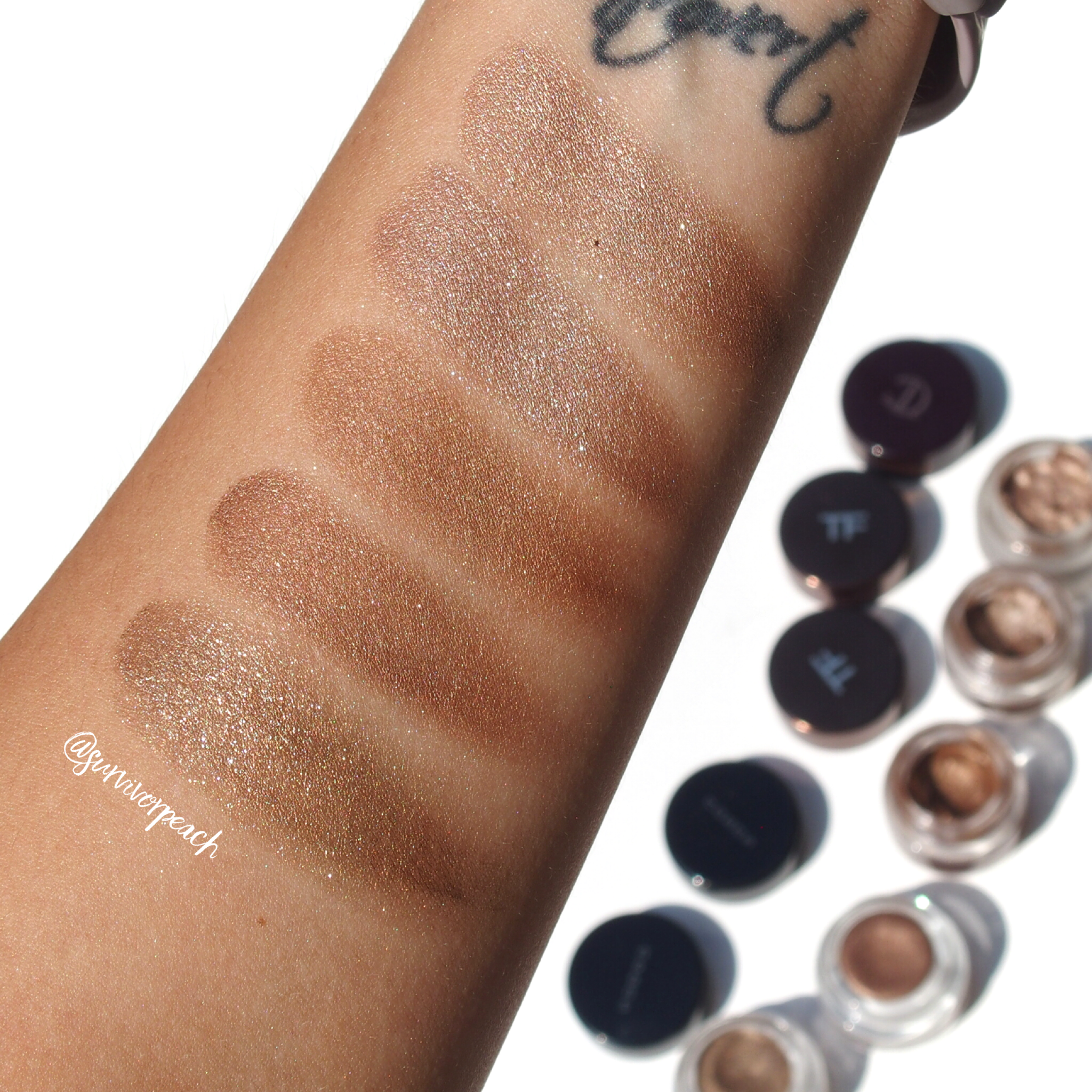Swatches of the Charlotte Tilbury Mona Lisa, Tom Ford Platinum, Tom Ford Spice, Suqqu Deep Nuance Eyes EX03, Suqqu Deep Nuance Eyes 103
