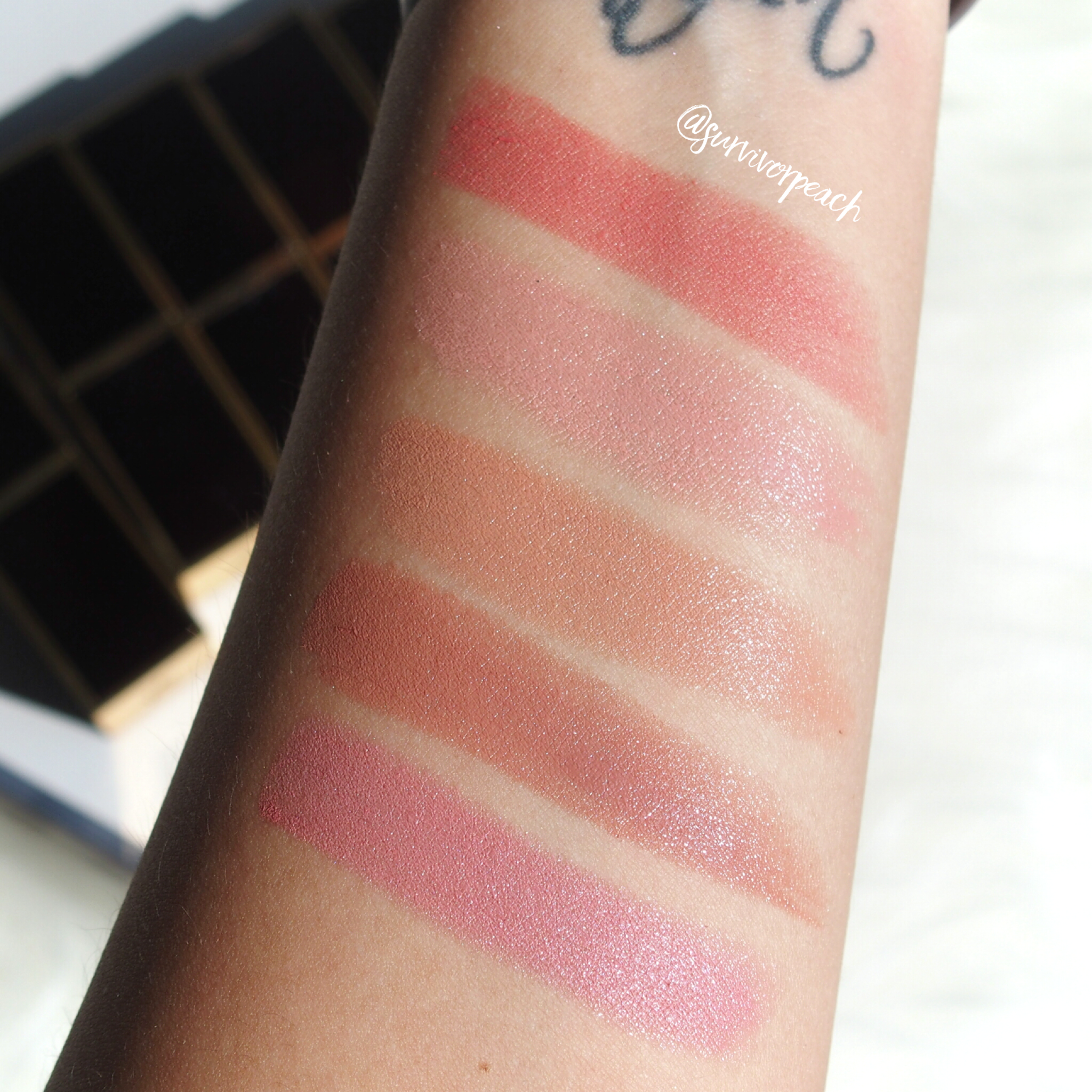 Swatches of the Tom Ford Lipsticks in Age of Consent, Spiced Honey, Erogenous, Autoerotique, Paper Doll