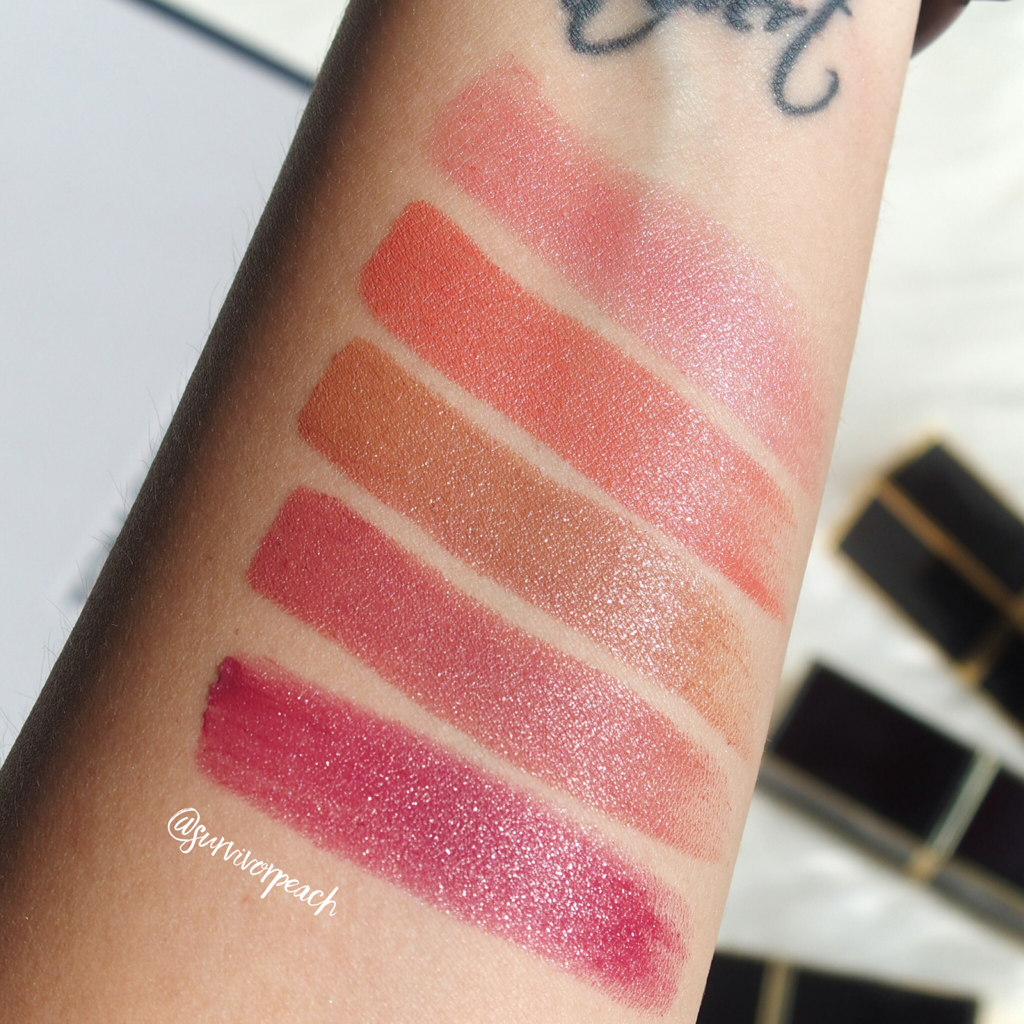 Swatches of the Tom Ford Lipsticks in Naked Coral, Twist of Fate, Negligee, Casablanca,, Adora