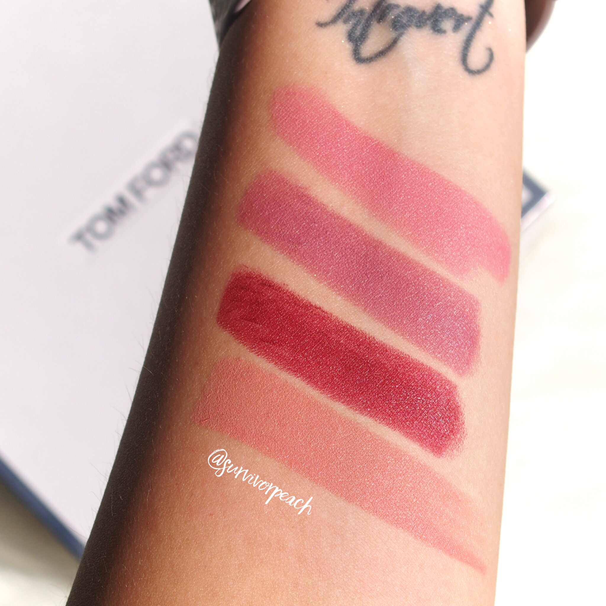 Swatches of the Tom Ford Matte Lipsticks in Pink Tease, Pussycat, Velvet Cherry, First Time