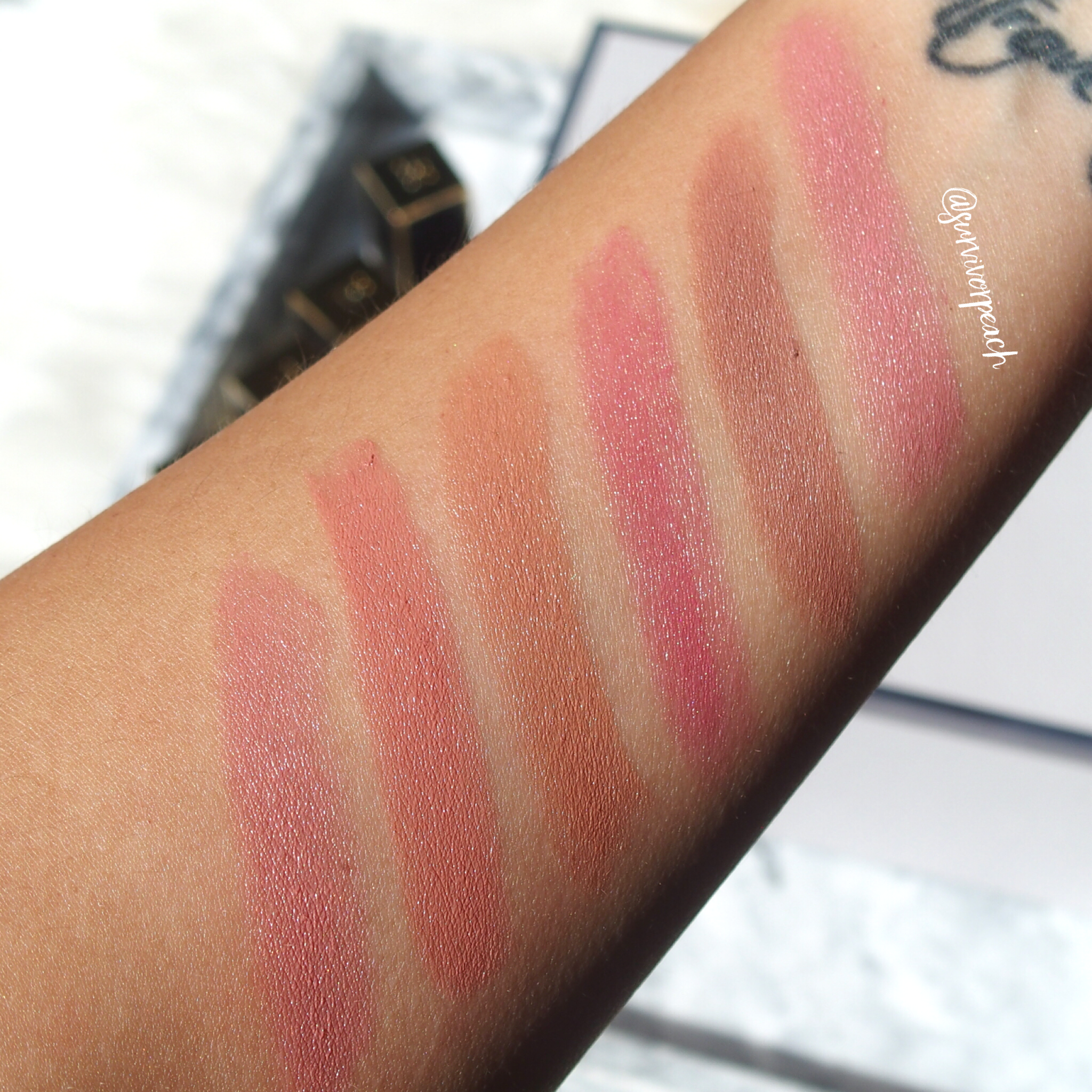 Swatches of the Tom Ford Lips and Boys in Flynn, Evan, Ansel, Bradley, Rover, Bryan