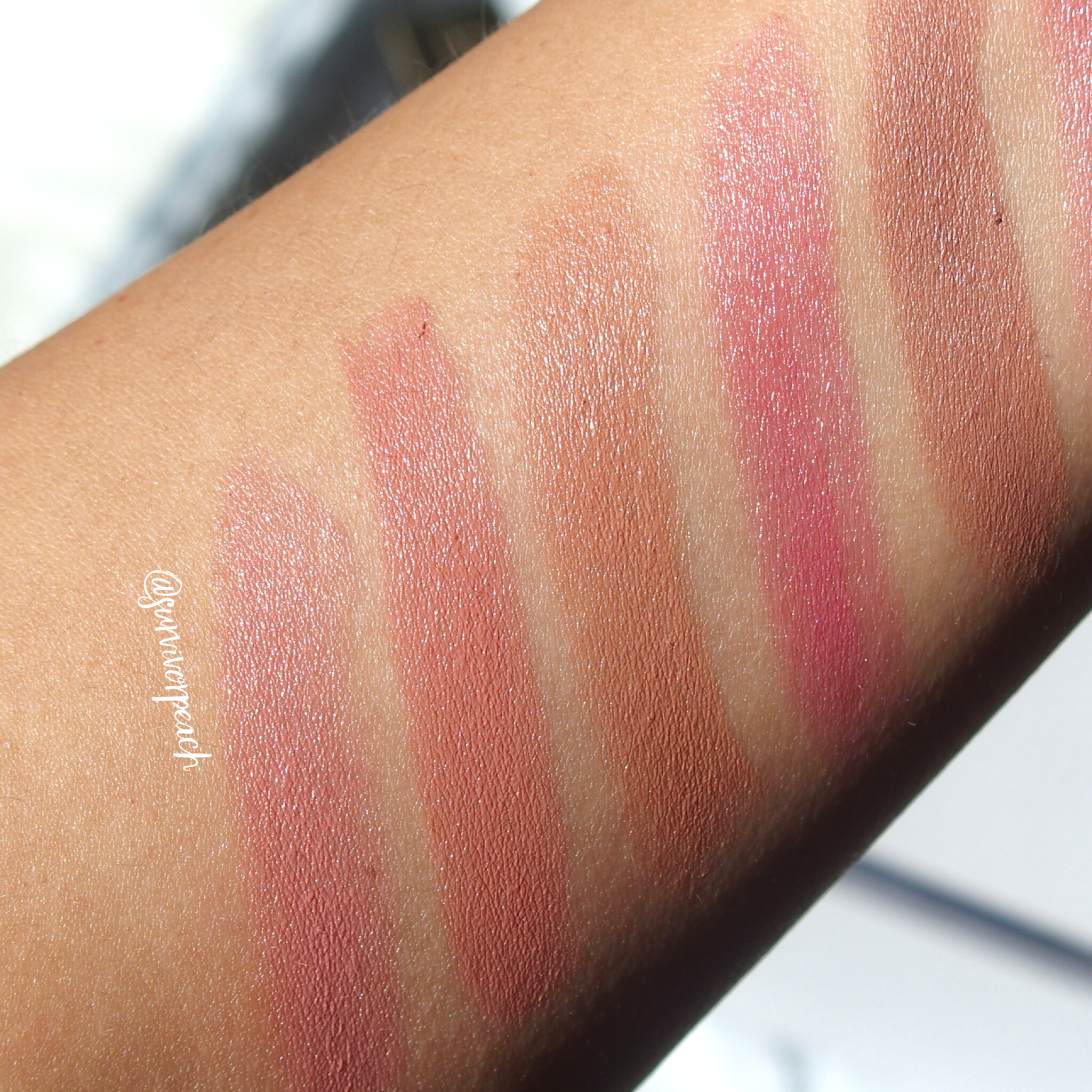 Swatches of the Tom Ford Lips and Boys in Evan, Ansel, Bradley, Rover, Bryan