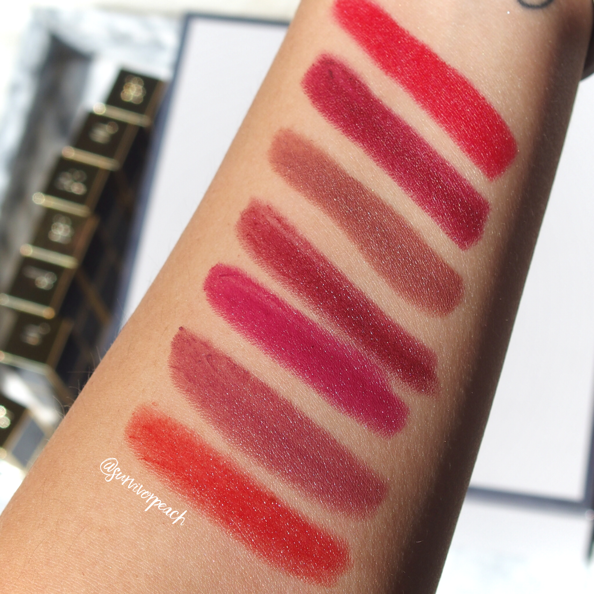 Swatches of the Tom Ford Lips and Boys in Dylan, Nicholas, Christopher, Inigo, Jack, Mitchell, Warren