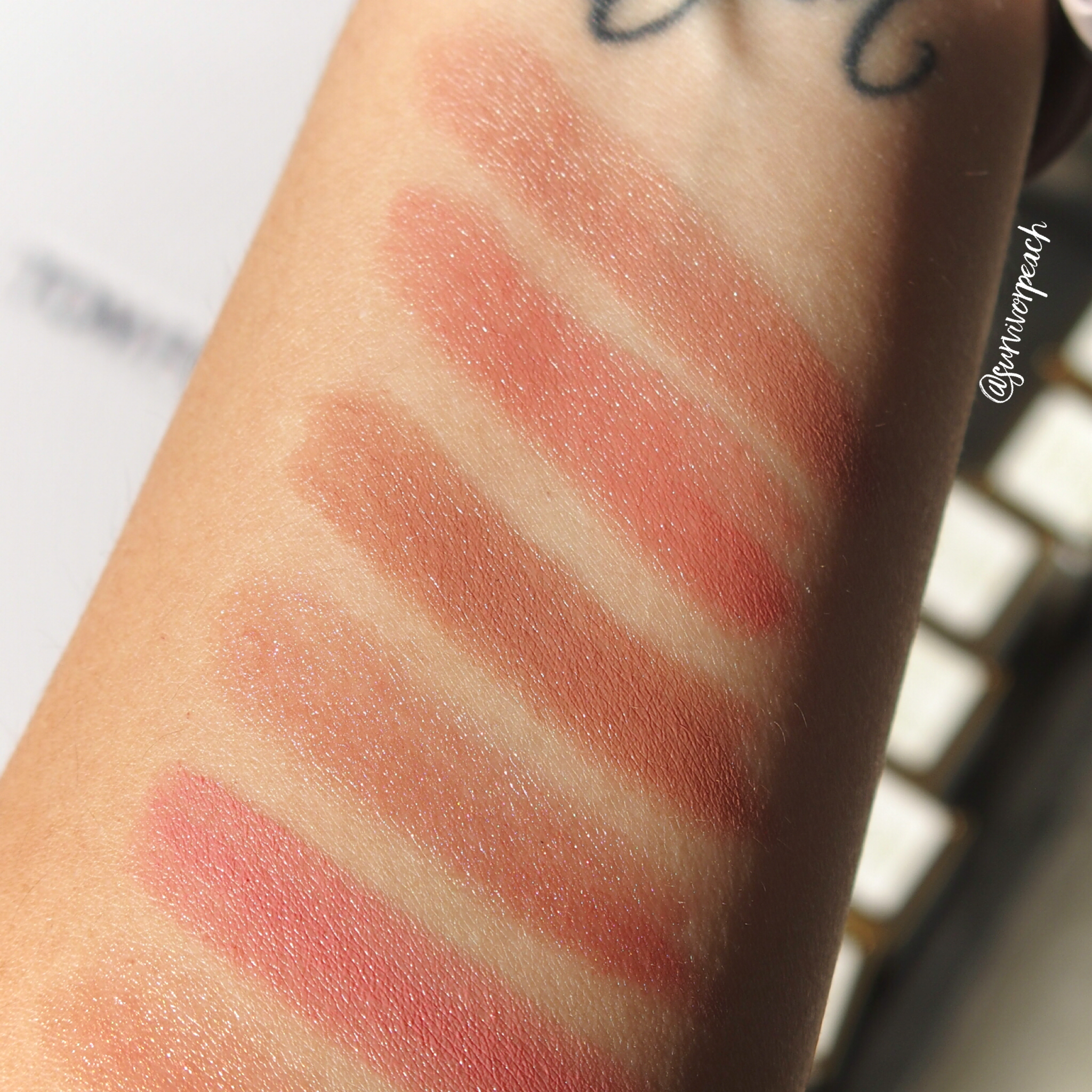 Swatches of the Tom Ford Lips and Girls in Katherine, Zoe, Joan, Ellie, Marisa