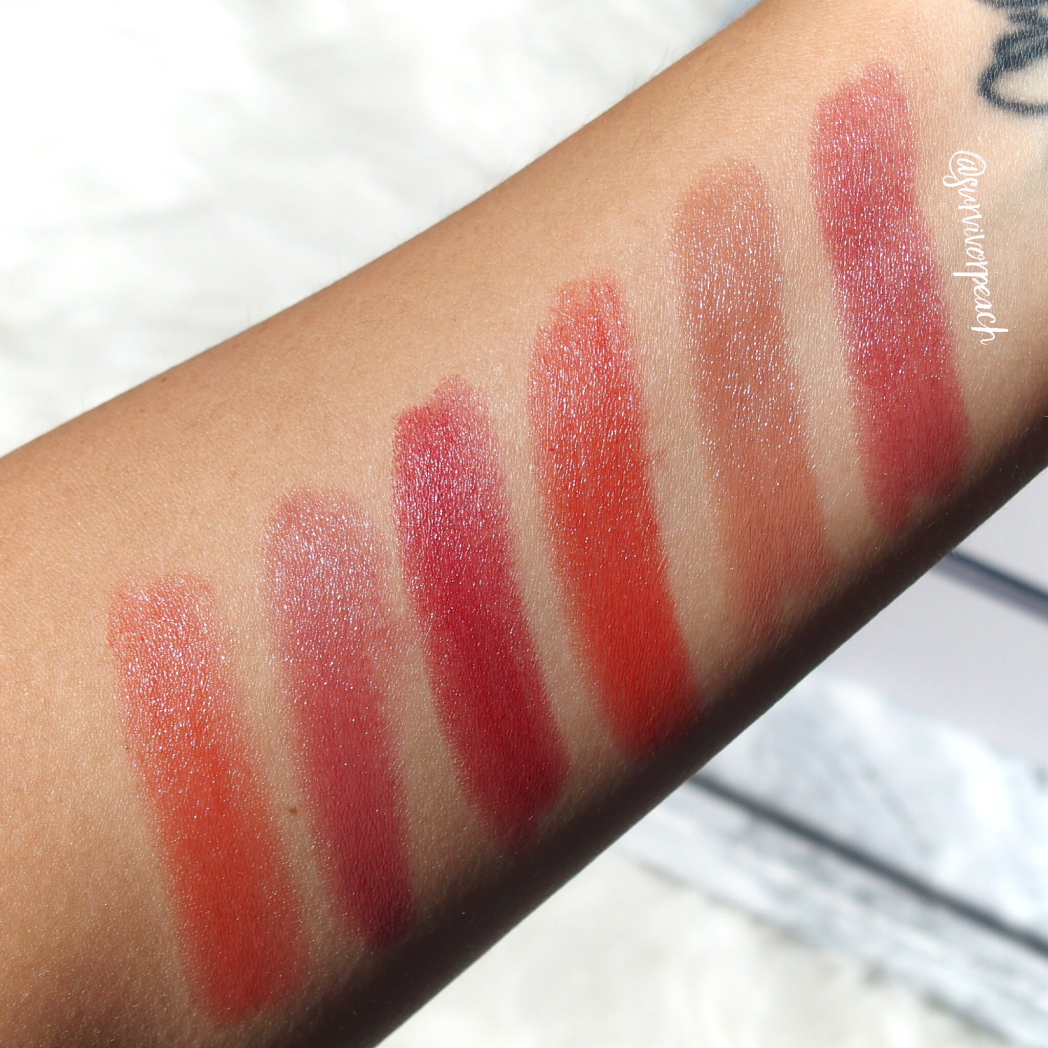 Swatches of the Tom Ford Lips and Girls in Ines, Fabiola, Gala, Naomi, Helena, Clutch-Size Lip Balm in Neotropic