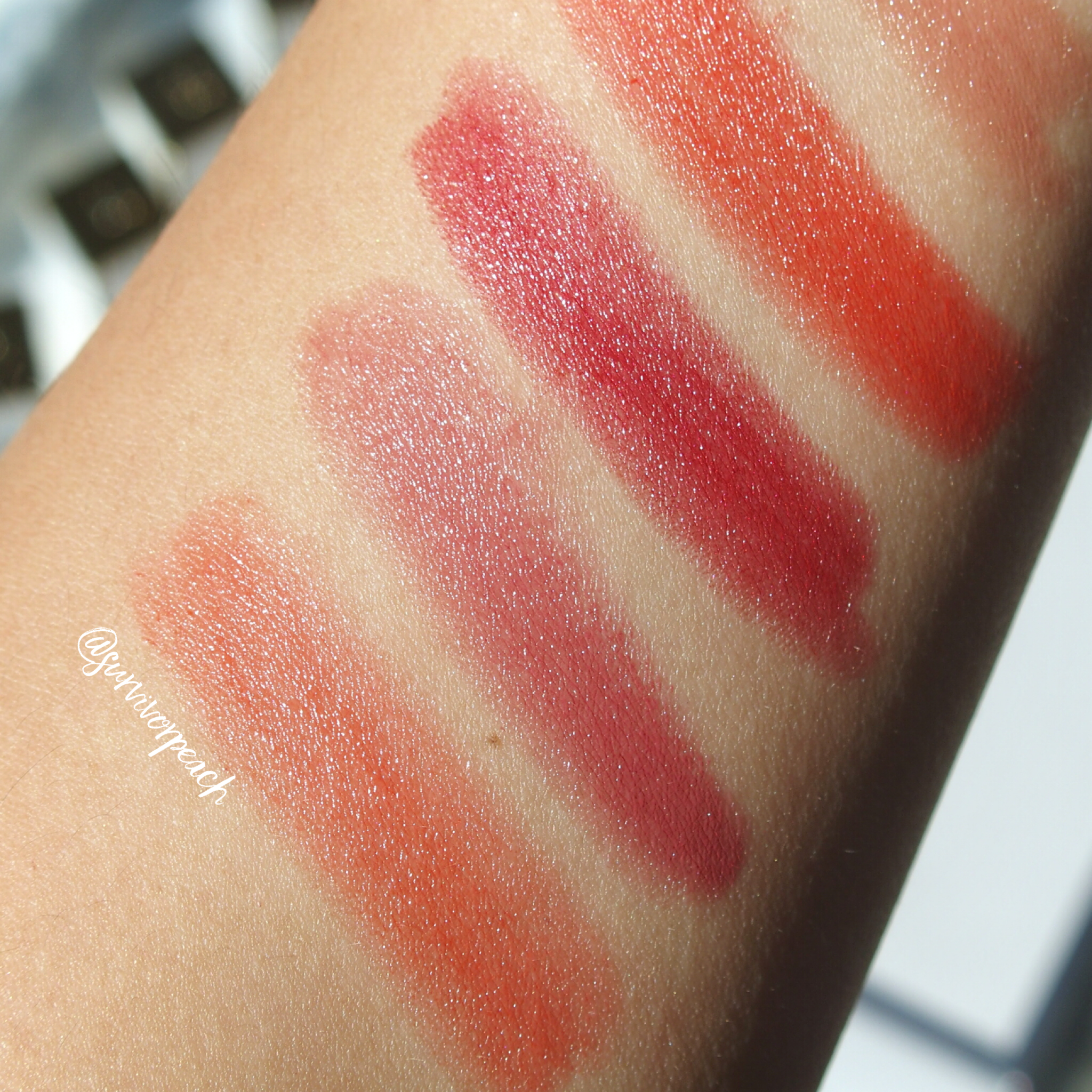 Swatches of the Tom Ford Lips and Girls in Gala, Naomi, Helena, Clutch-Size Lip Balm in Neotropic