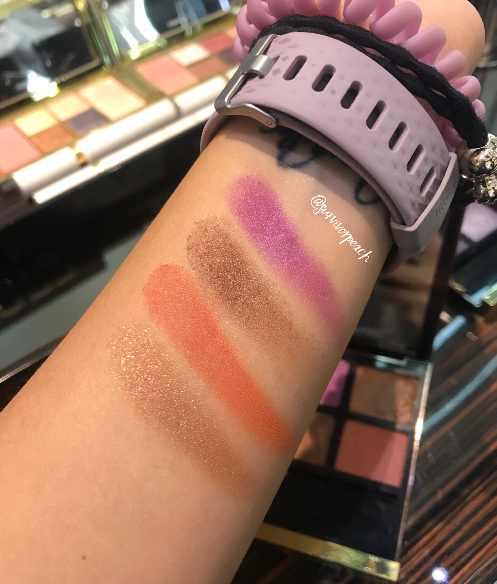 Swatches of the Tom Ford Eye Quad in African Violet