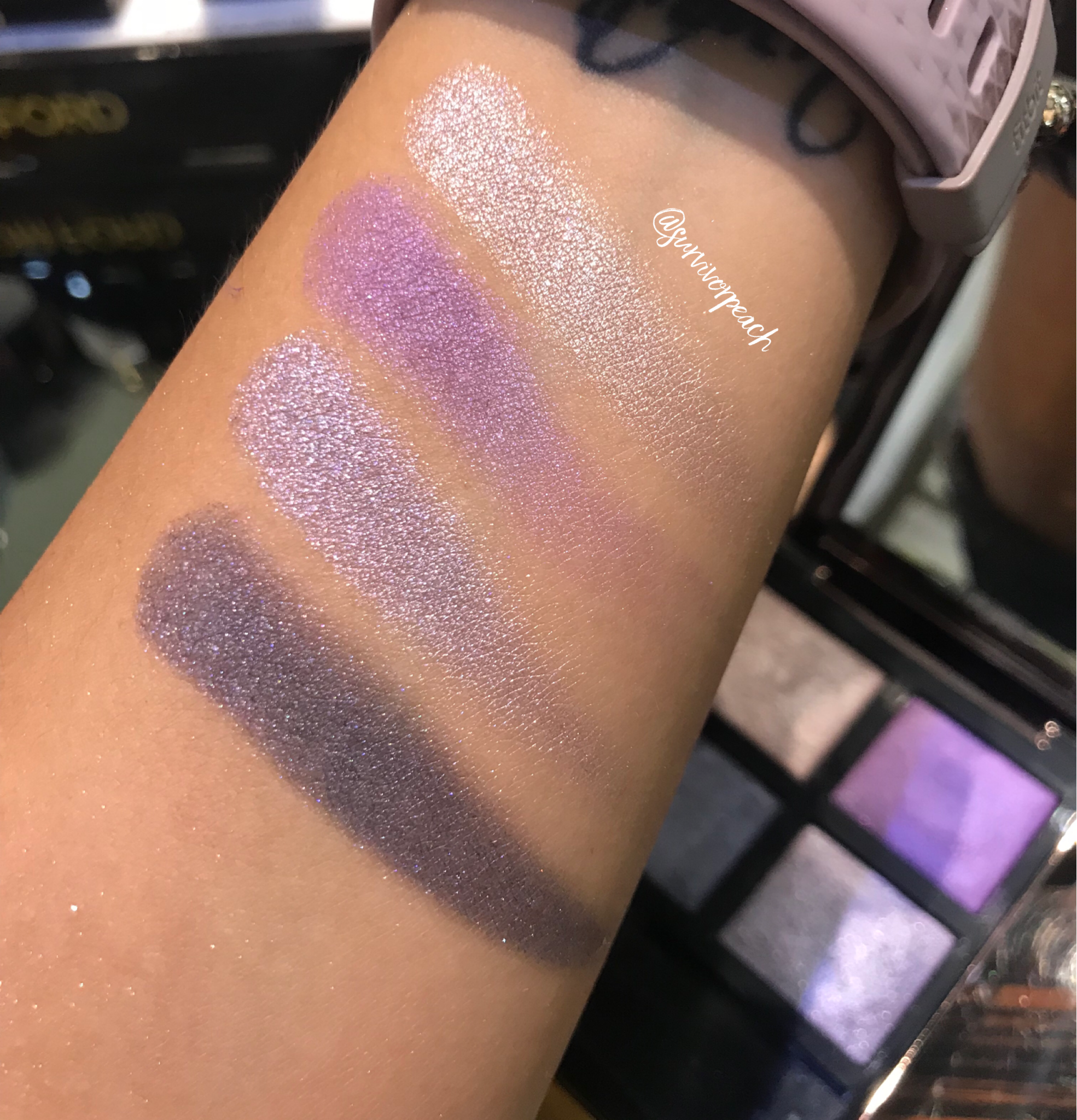 Swatches of the Tom Ford Eye Quad in 28 Day Dream