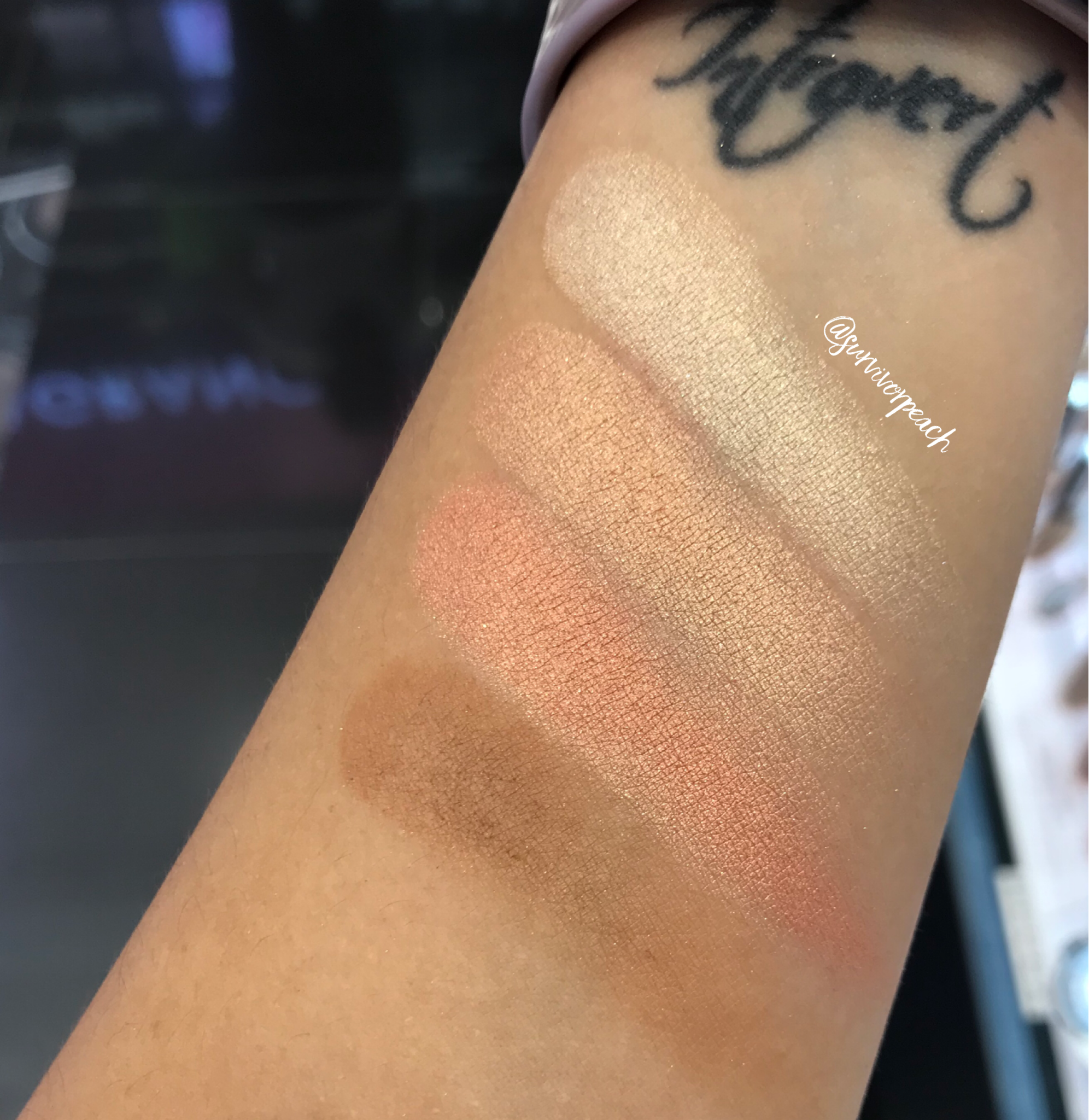 Swatches of the BECCA x Khloé Kardashian & Malika Haqq Bronze, Blush & Glow Palette in  Made With Love By Khloé  .