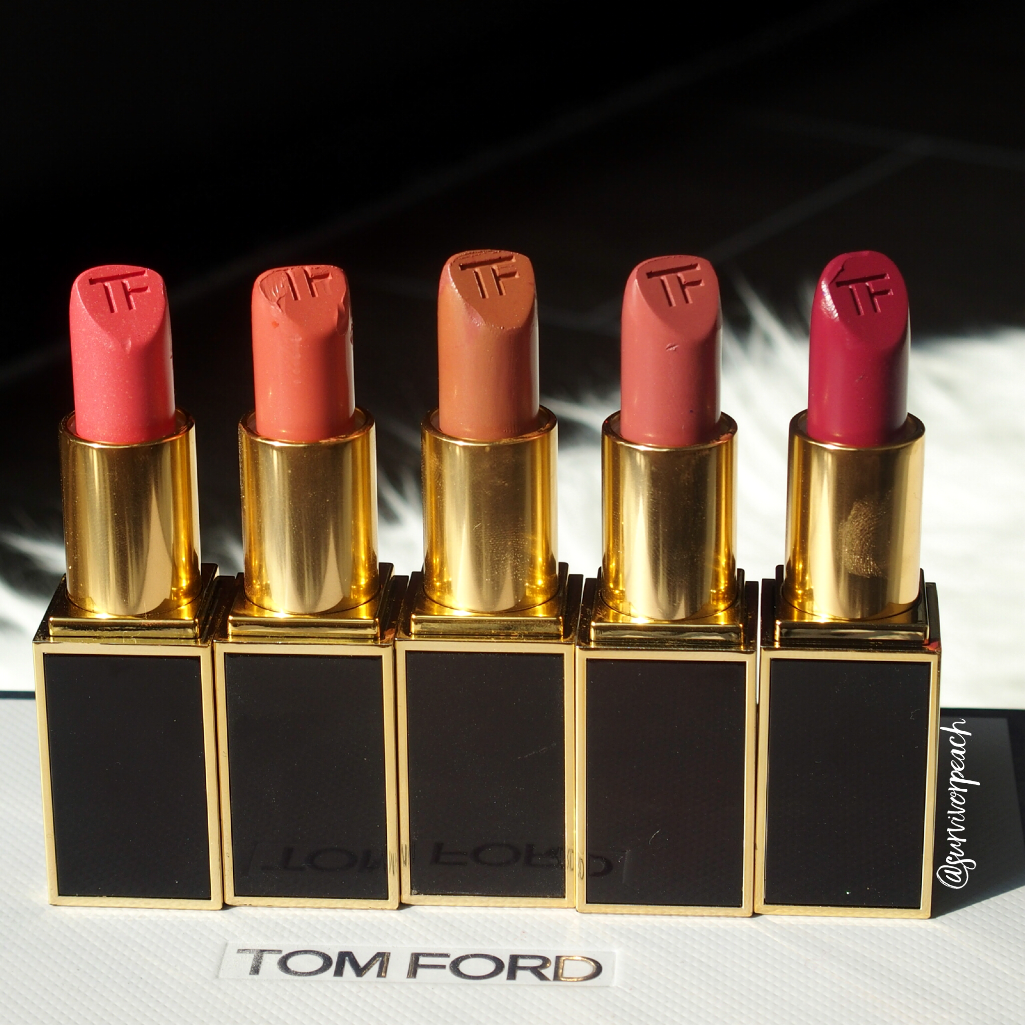 Tom Ford Lipsticks in Naked Coral, Twist of Fate, Negligee, Casablanca,Adora