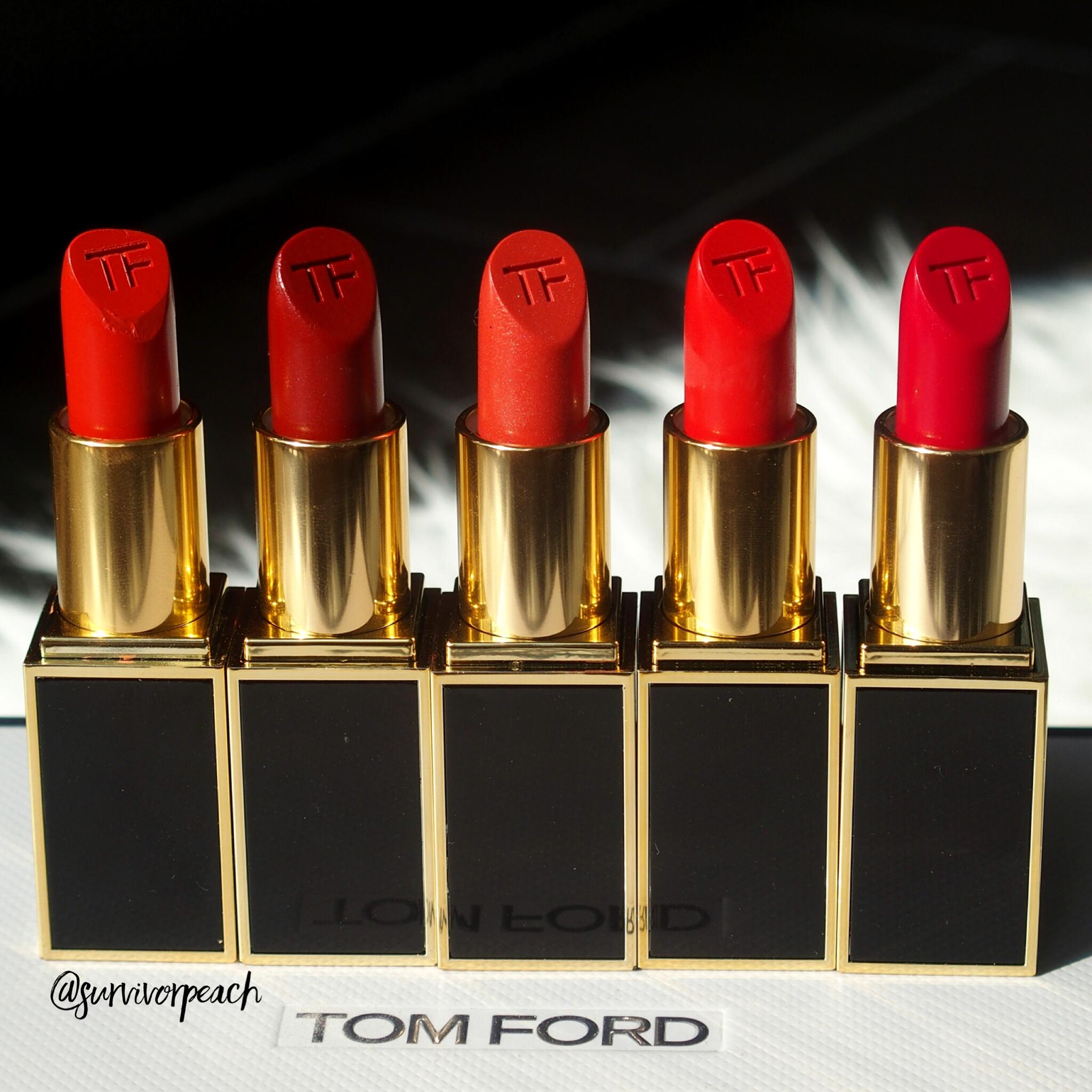Tom Ford Lipsticks in Wild Ginger, Scarlet Rouge, Contempt, Vermillionaire, Jasmin Rouge