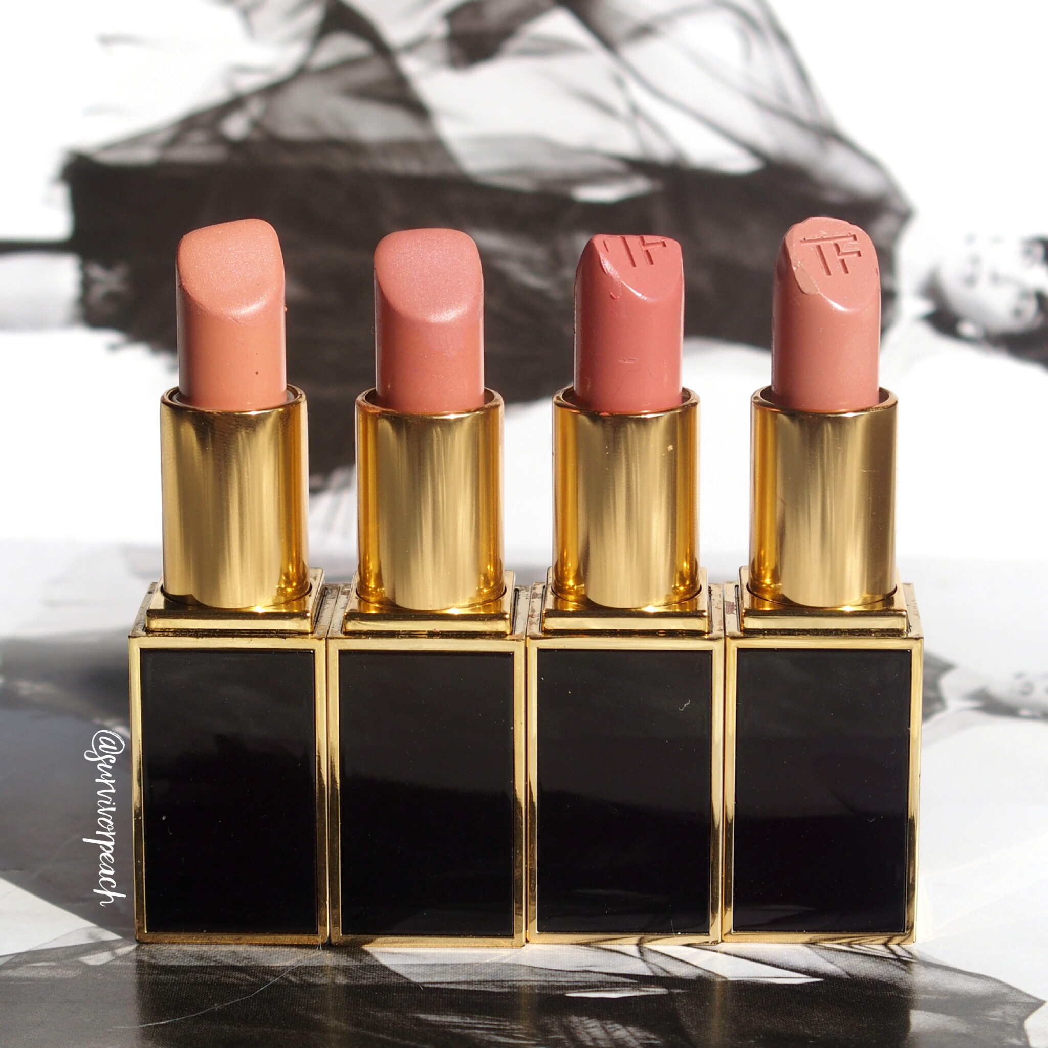 Tom Ford Lipsticks in Spanish Pink, Pink Dusk, First Time, Blush Nude