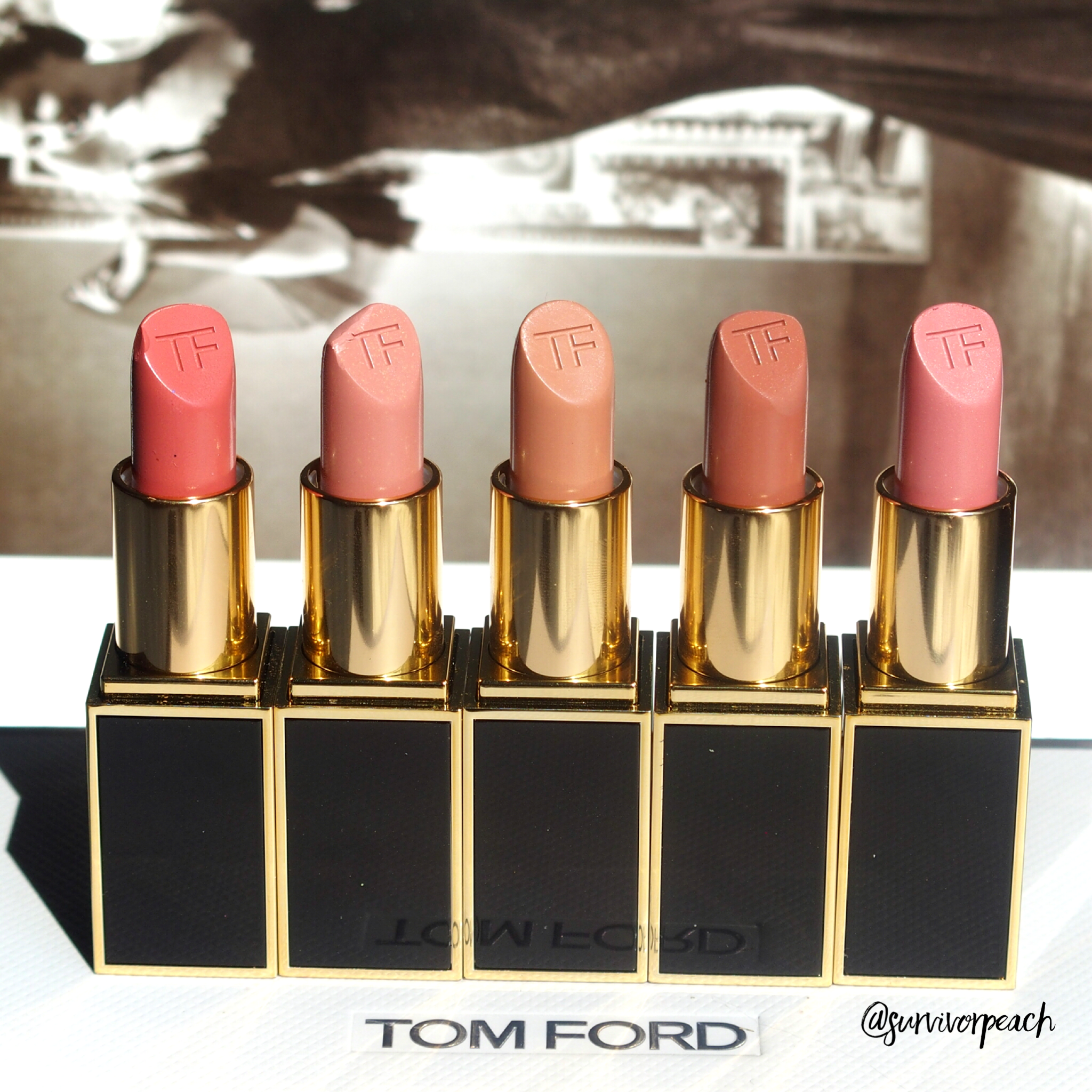 Tom Ford Lipsticks in Age of Consent, Spiced Honey, Erogenous, Autoerotique, Paper Doll