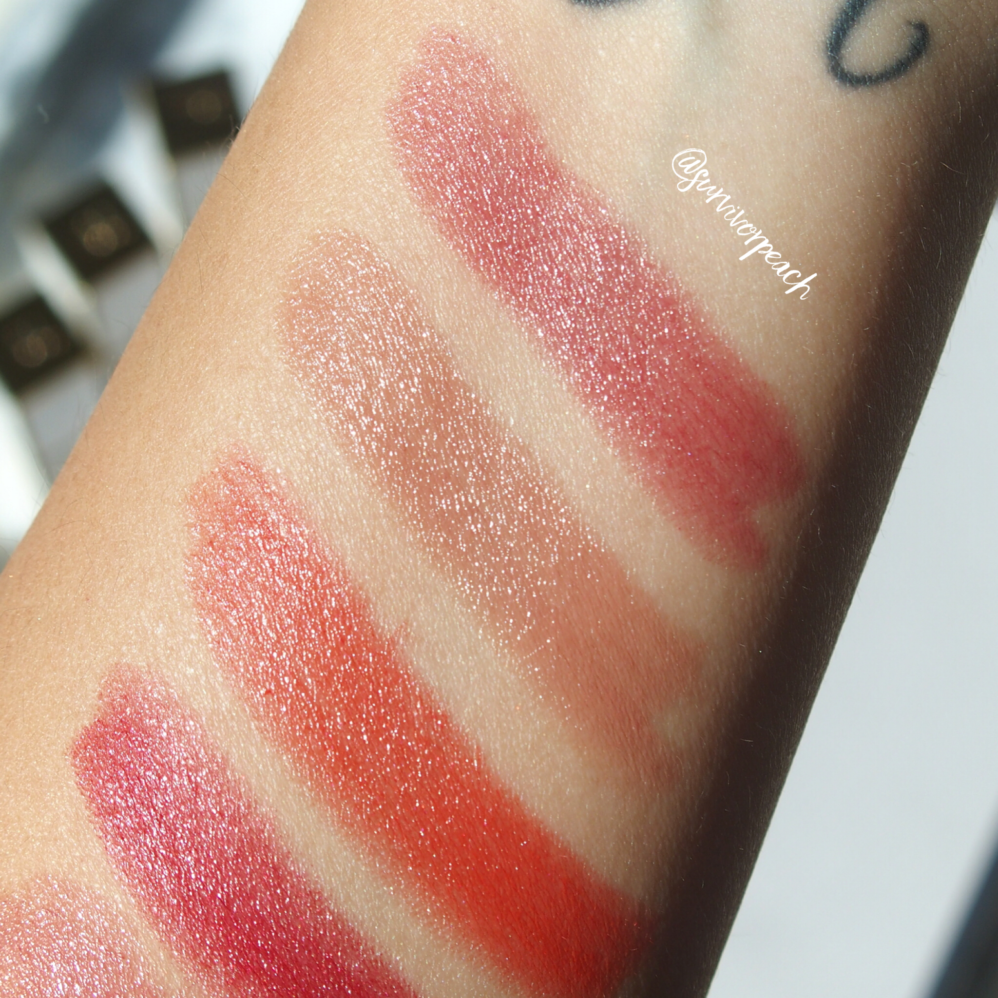 Swatches of the Tom Ford Lips and Girls in Ines, Fabiola, Gala, Naomi