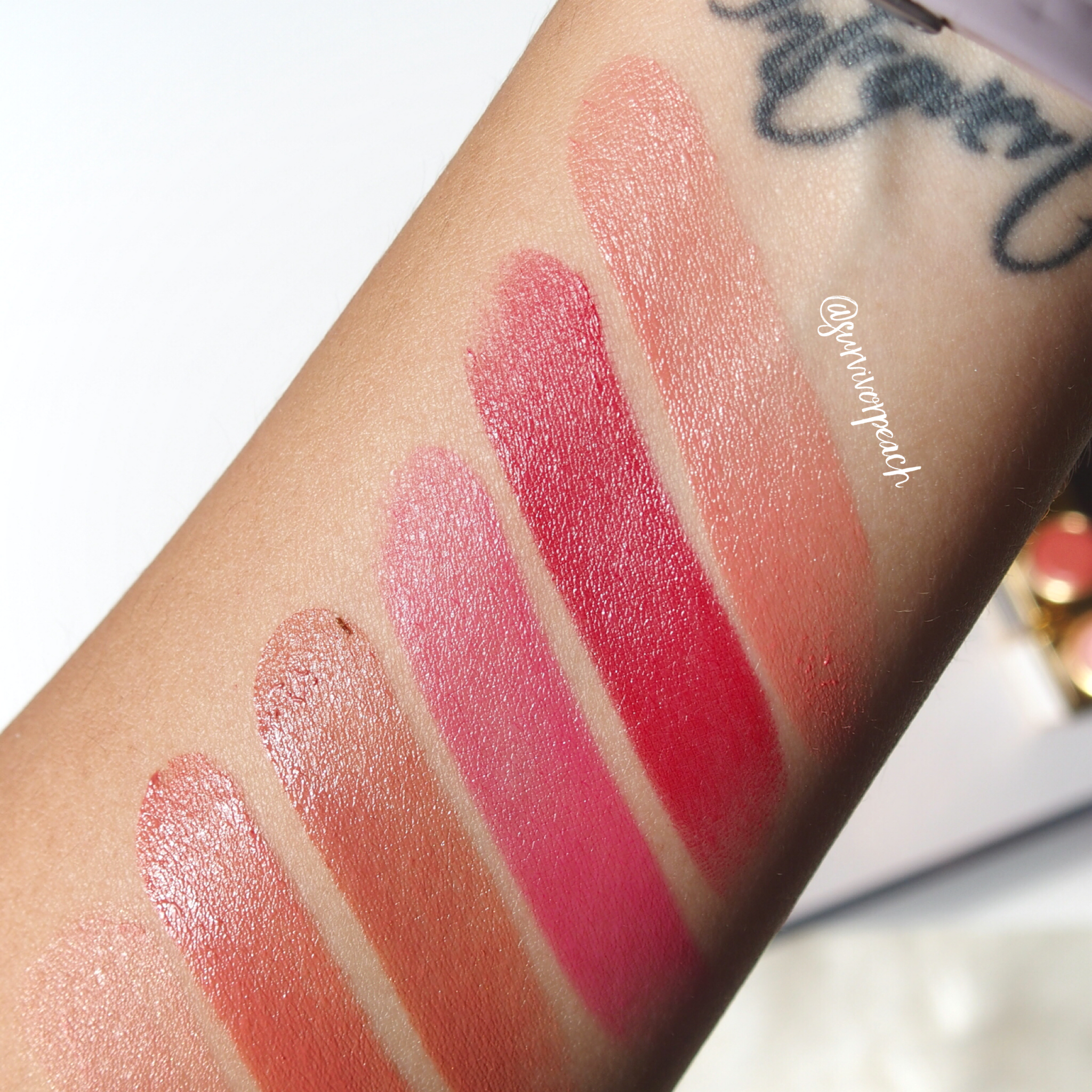 Swatches of the Tom Ford Lip Color Shine in Lavish Indulgent, Ravenous, Nubile, Sultry