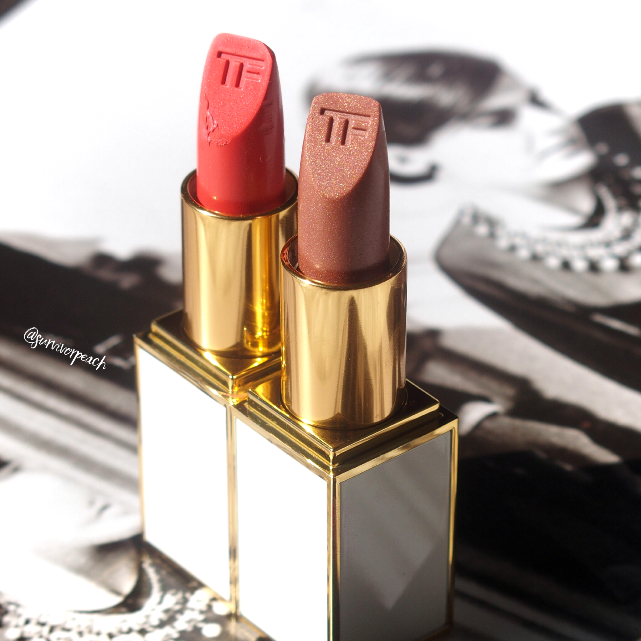 Tom Ford Lip Color Sheer in Nudiste and Solar Affair.
