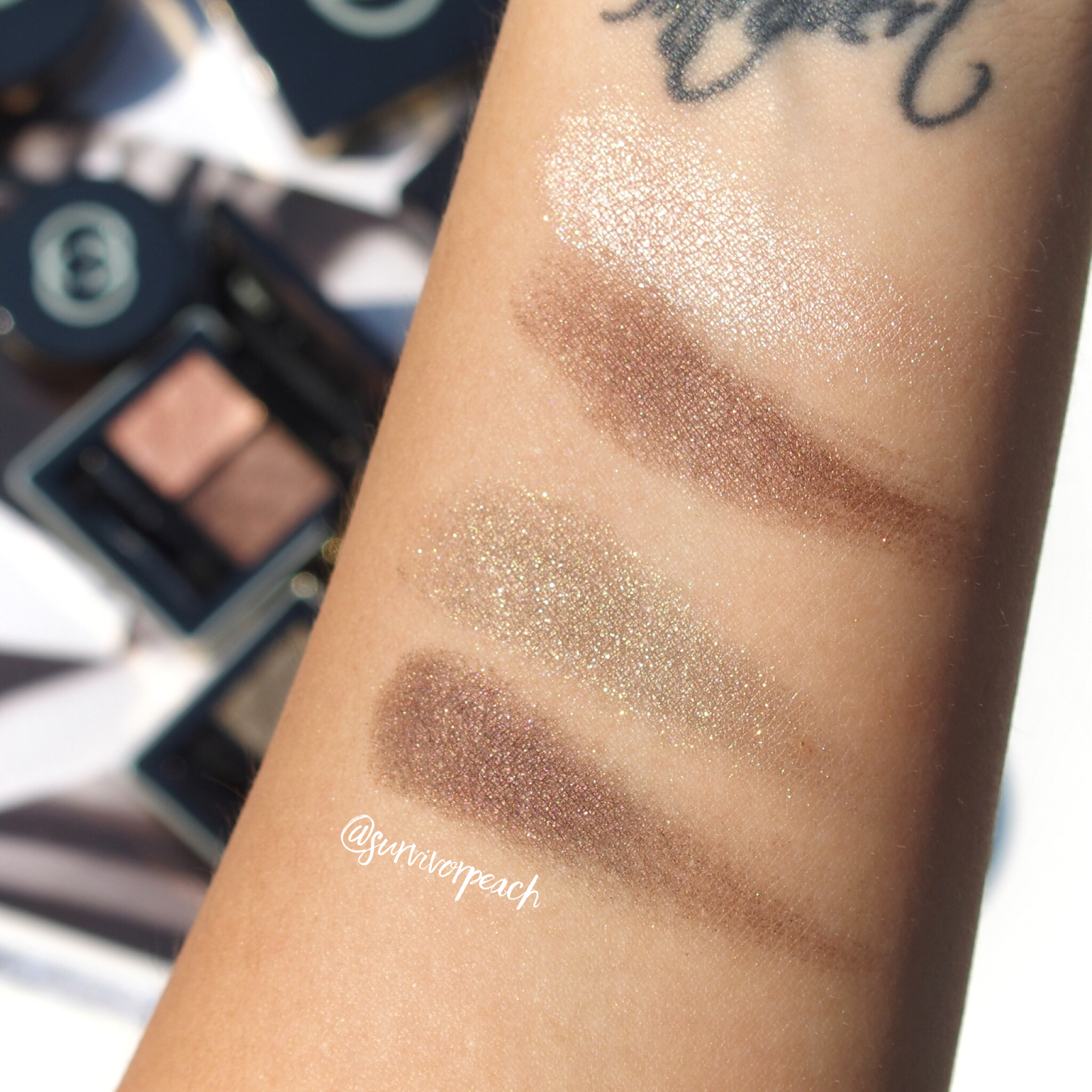 Swatches of the Magnetic Color Shadow Duo in Amaretto and Fume