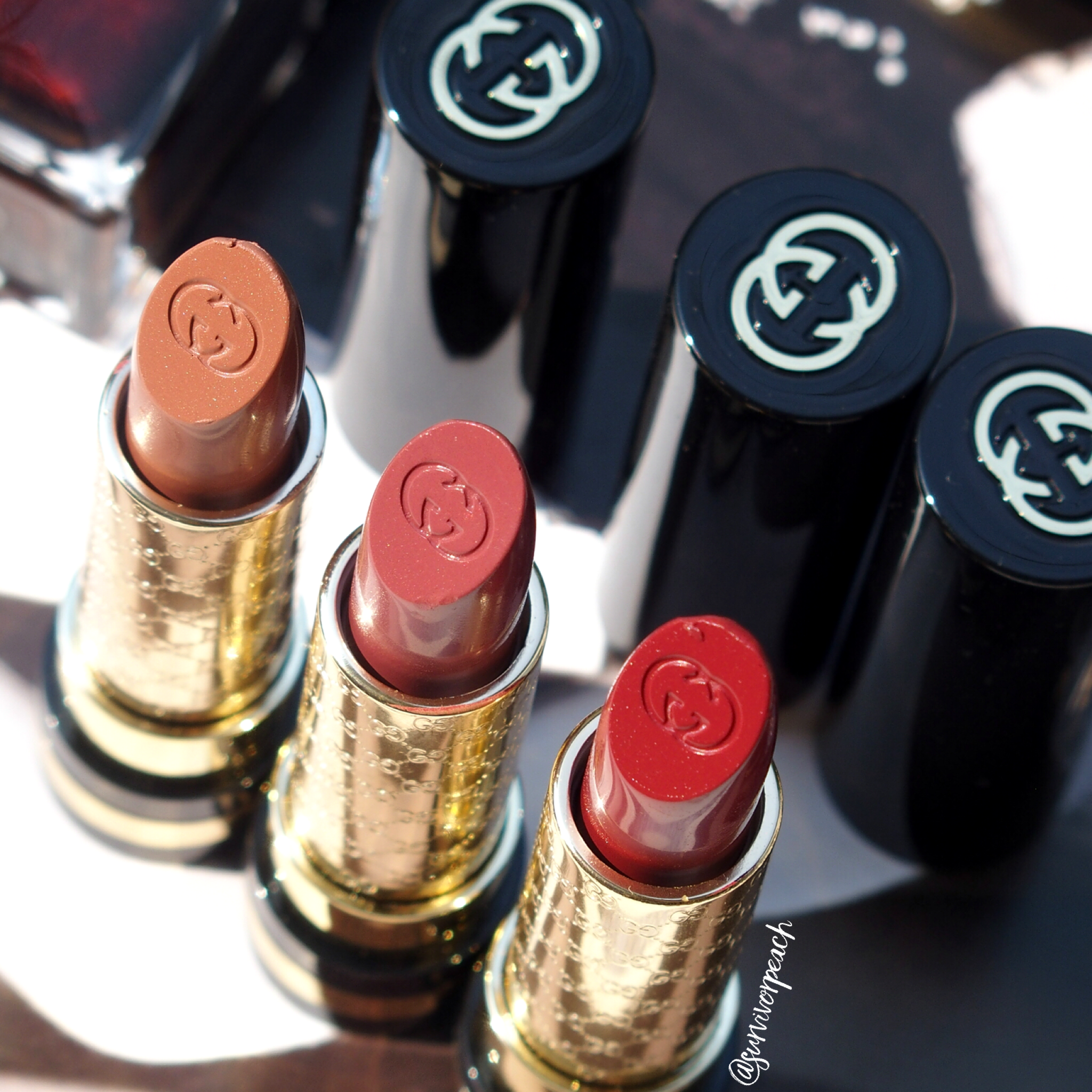 Gucci Luxurious Moisture Rich lipstick in #330 #570 and #580.