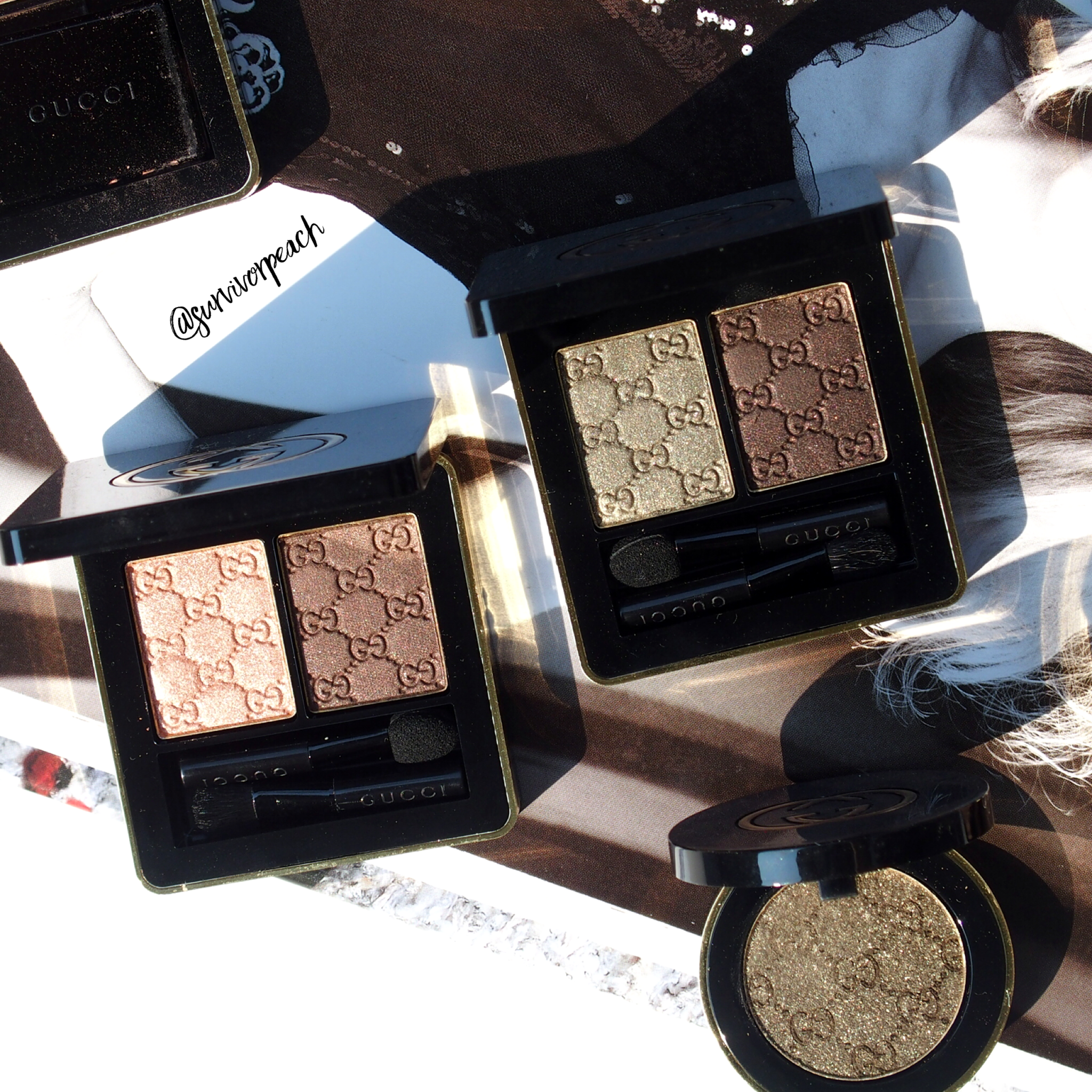 Gucci Beauty Magnetic Color Shadow Duo in Amaretto and Fume, Magnetic Color Shadow Mono eyeshadow in Iconic Gold.