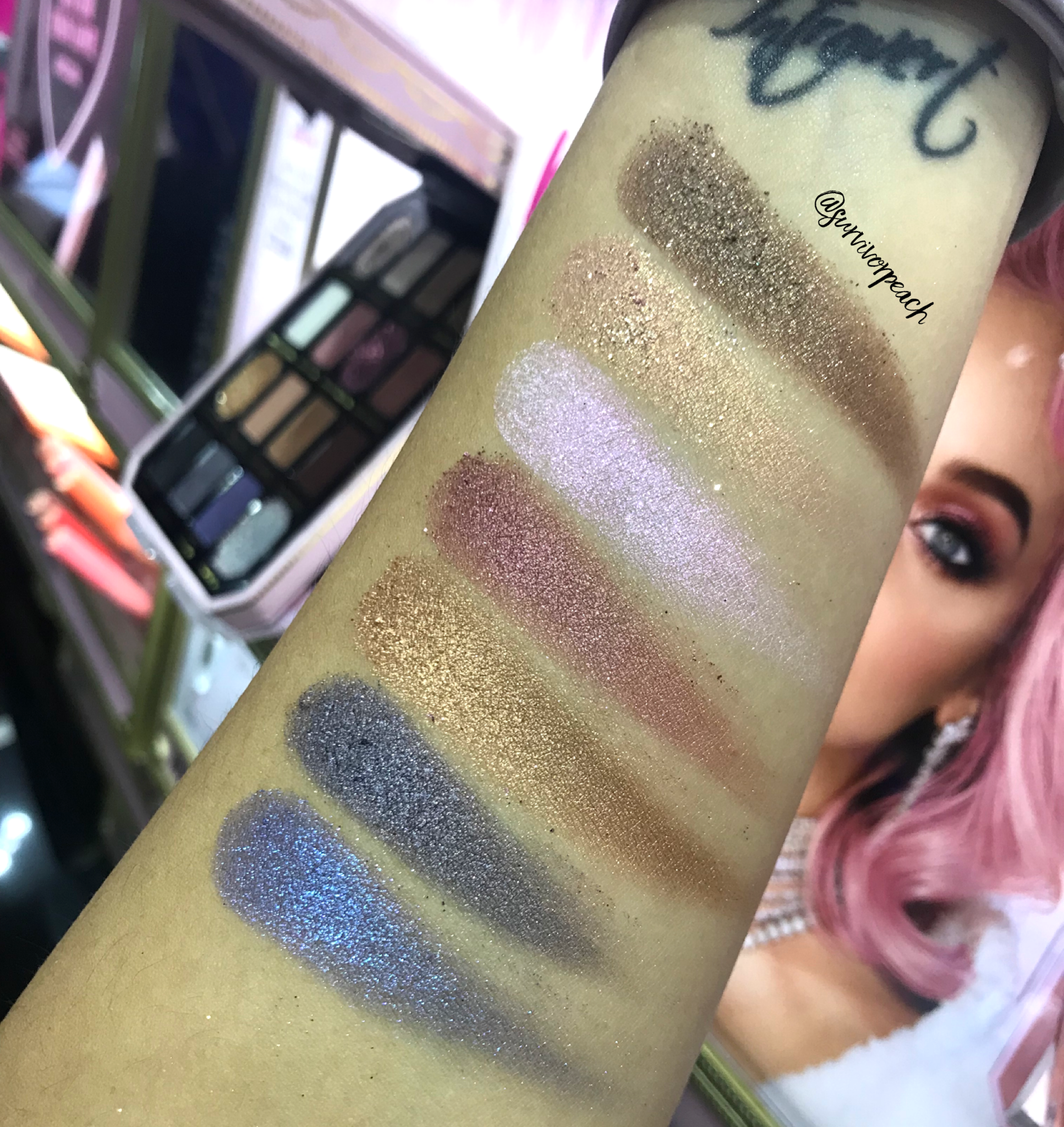 Swatches of the Toofaced Pretty Rich Diamond Light Eye Shadow palette
