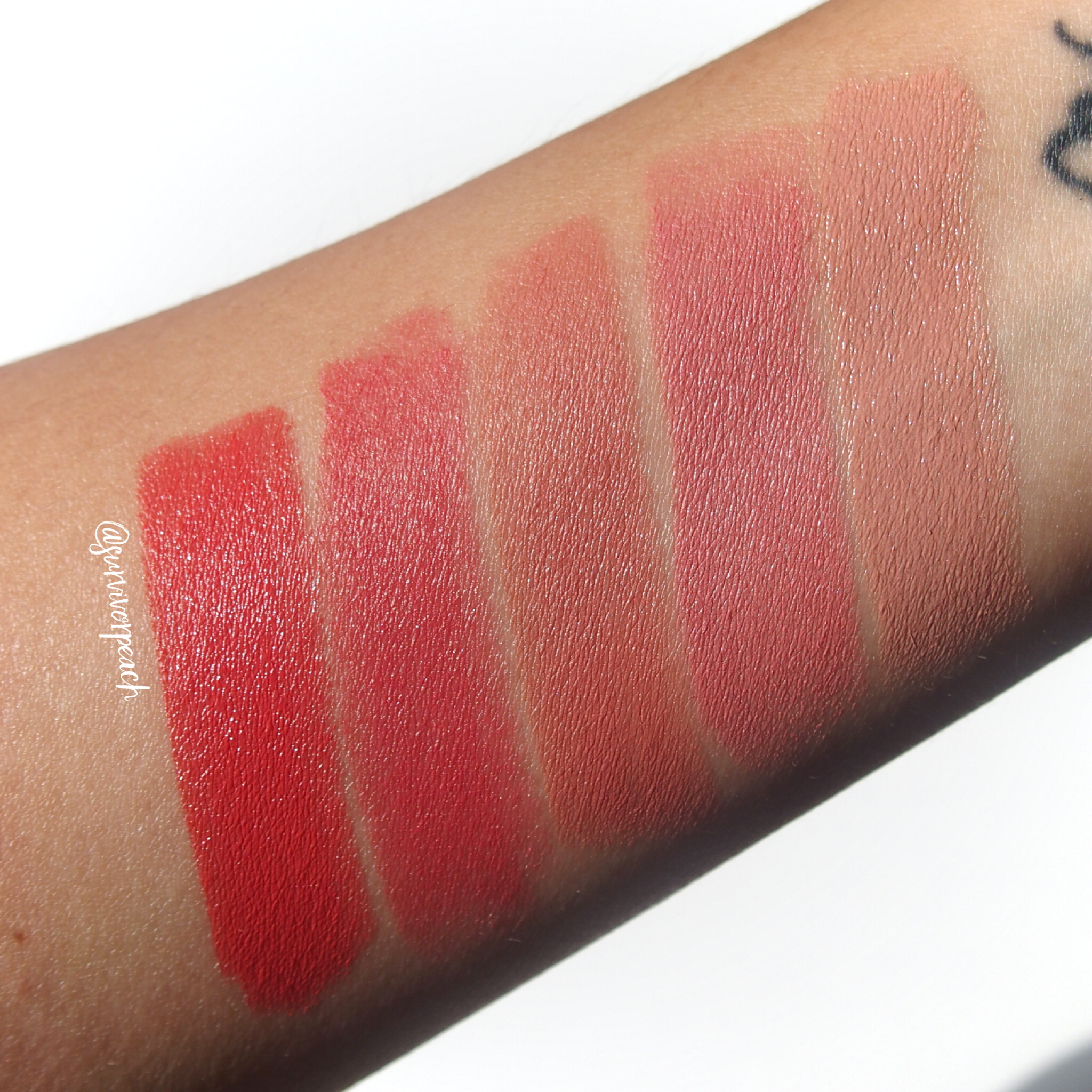 Swatches of the Charlotte Tilbury Hot Lips in shades Kim K.W., Kidman's Kiss, Super Cindy, Miranda May, Hot Emily.